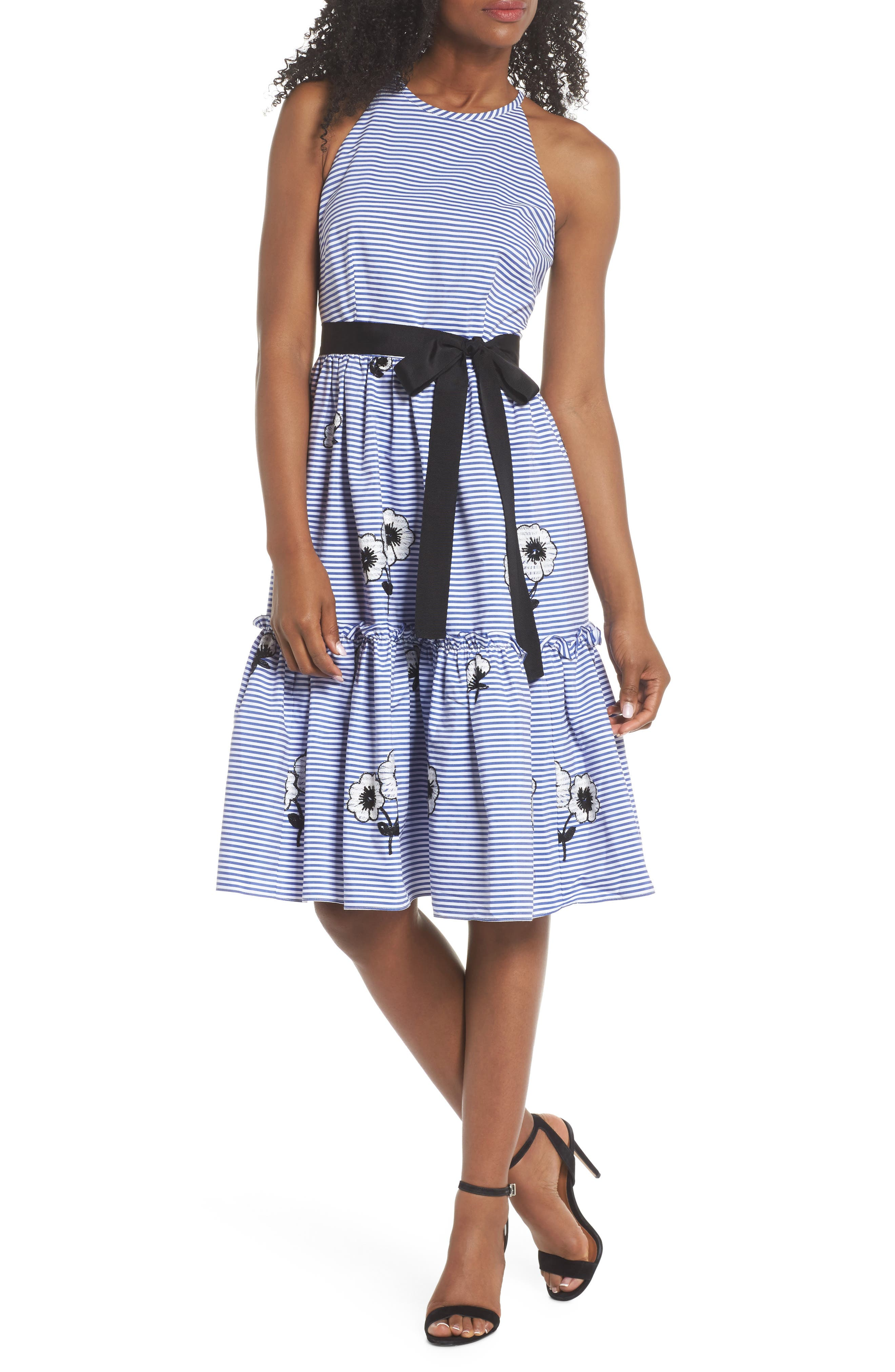 Embroidered Stripe Fit & Flare Dress,                             Main thumbnail 1, color,                             Blue/ White