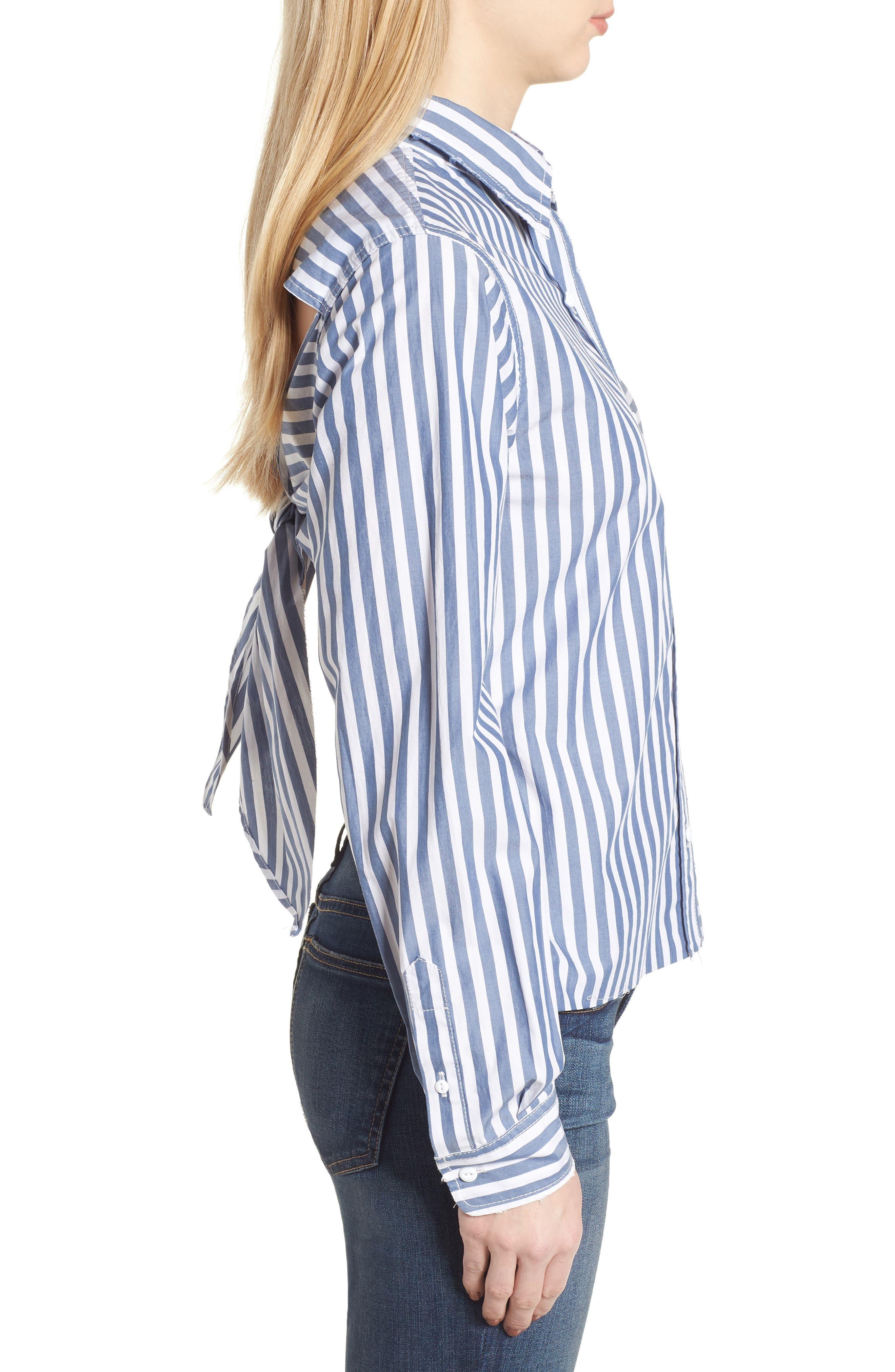 The Des Stripe Tie Back Shirt,                             Alternate thumbnail 3, color,                             Blue Lagoon Stripe