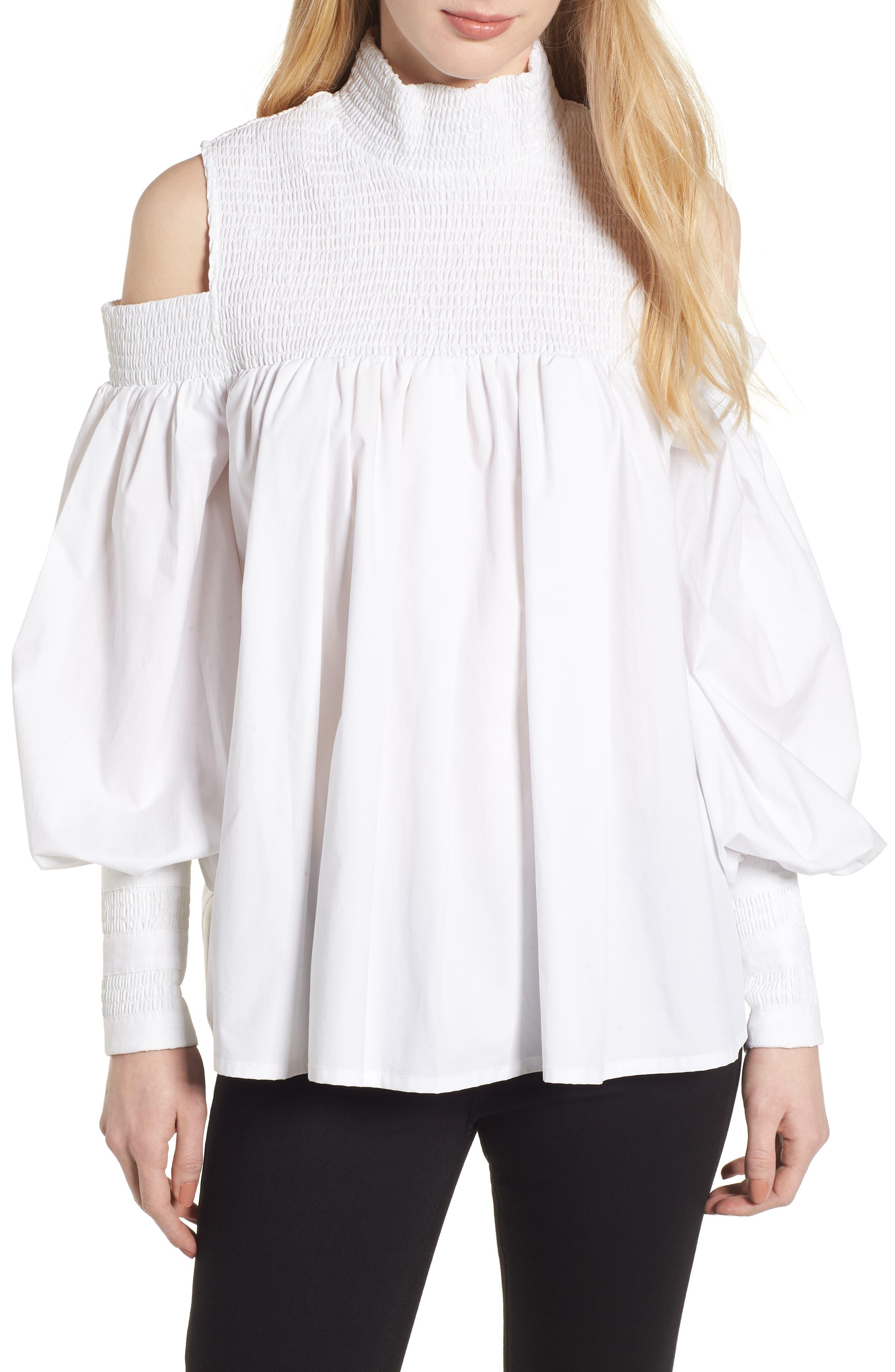 Ivy Cold Shoulder Top,                         Main,                         color, White Cotton