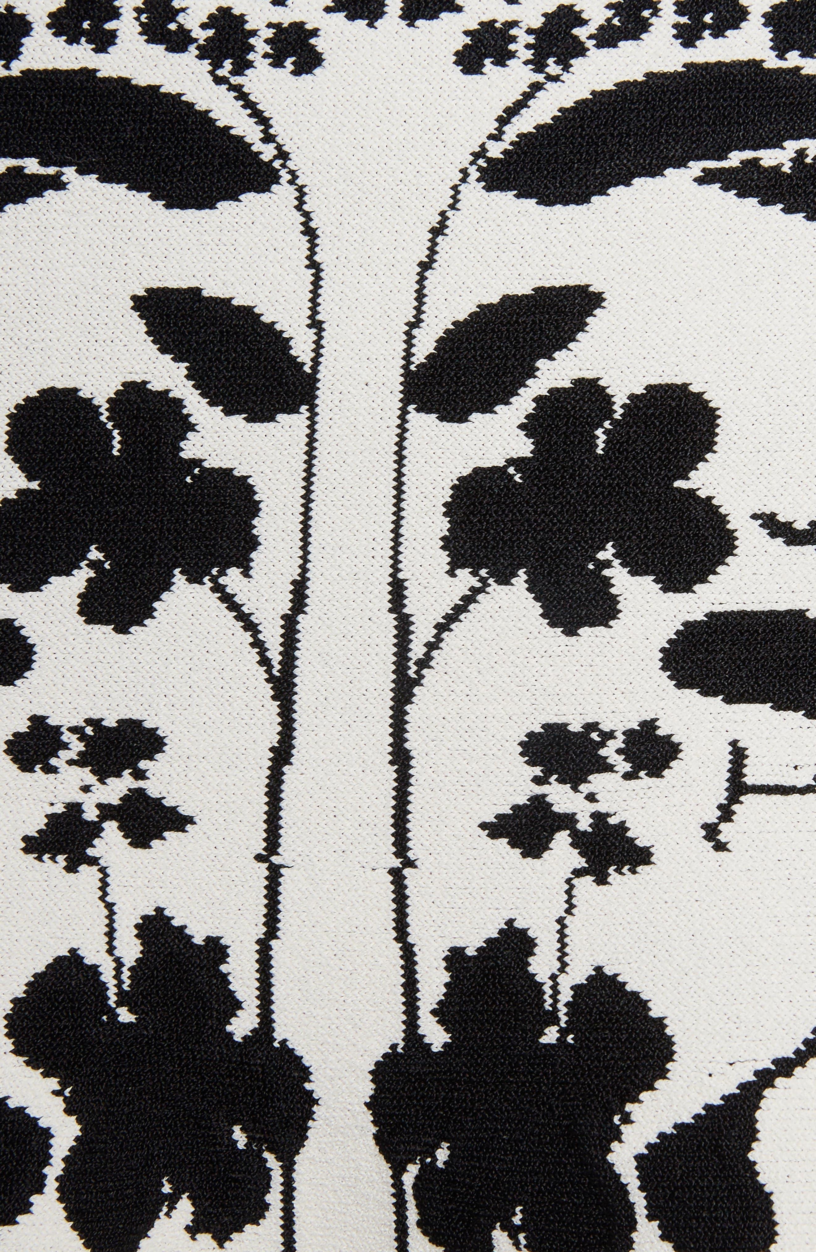 Botanical Jacquard Knit Flounce Skirt,                             Alternate thumbnail 5, color,                             Ivory/ Black