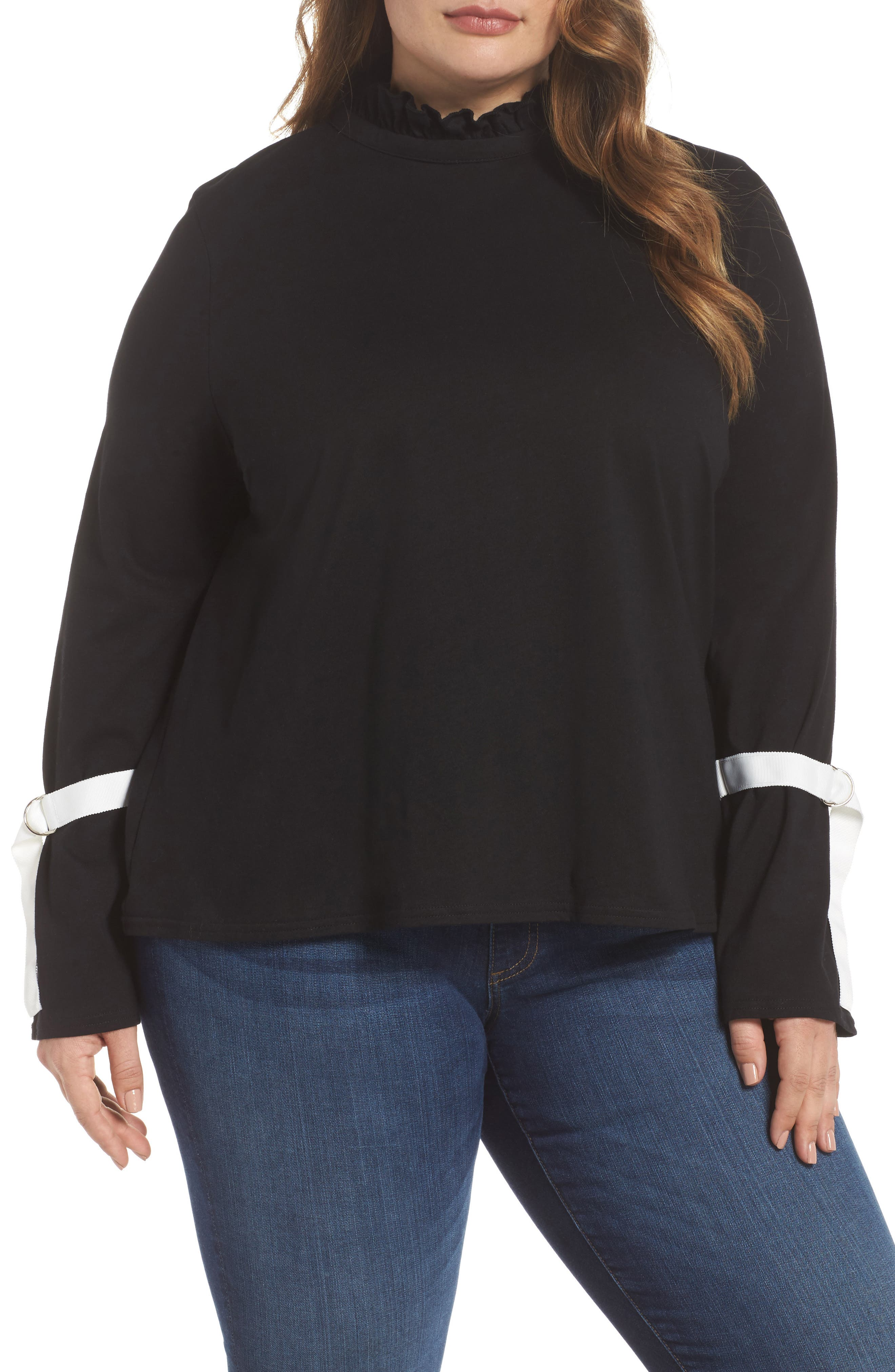 Tie Sleeve Top,                         Main,                         color, Black