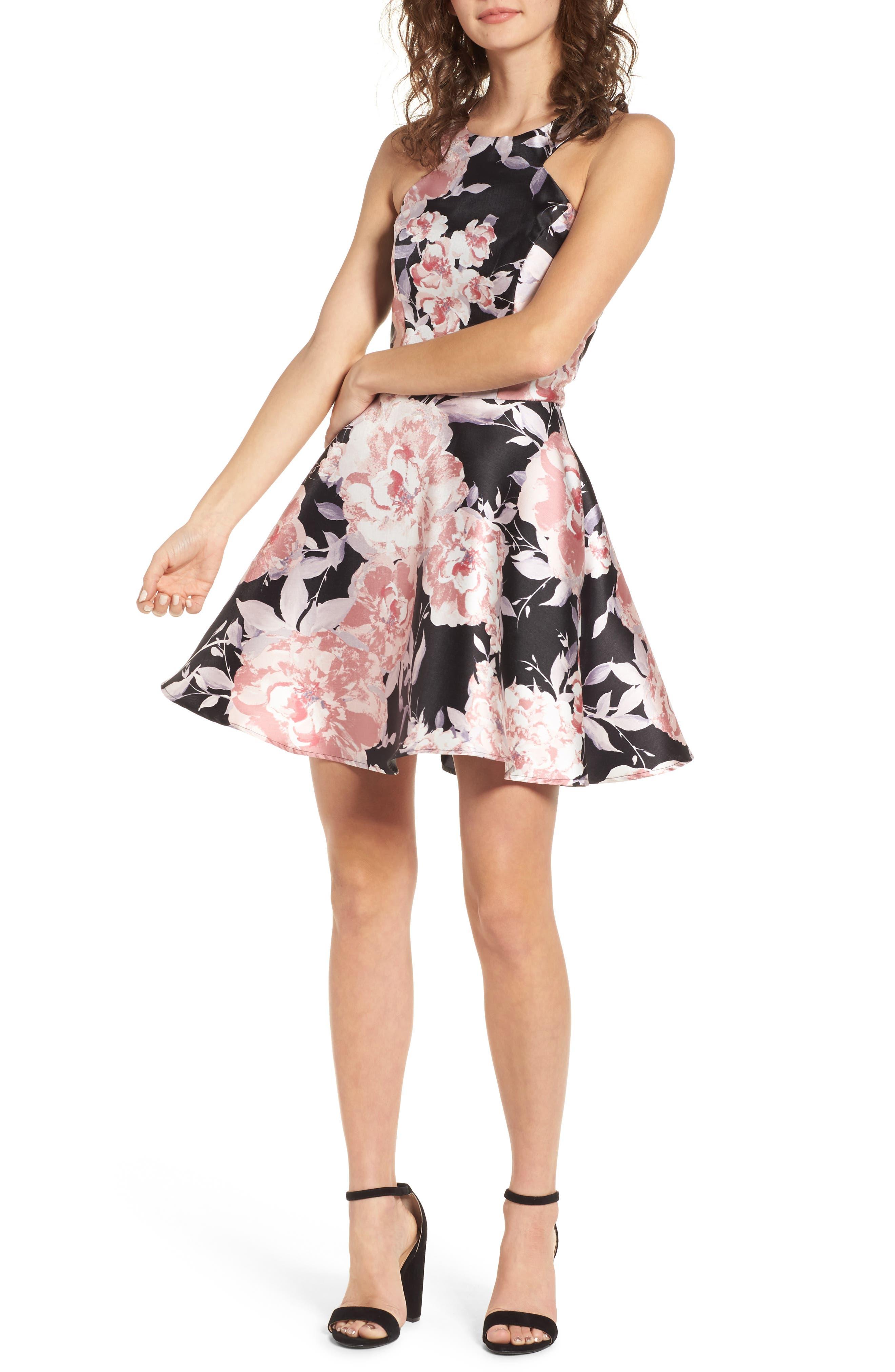 Mikado Skater Dress,                         Main,                         color, Black/ Blush