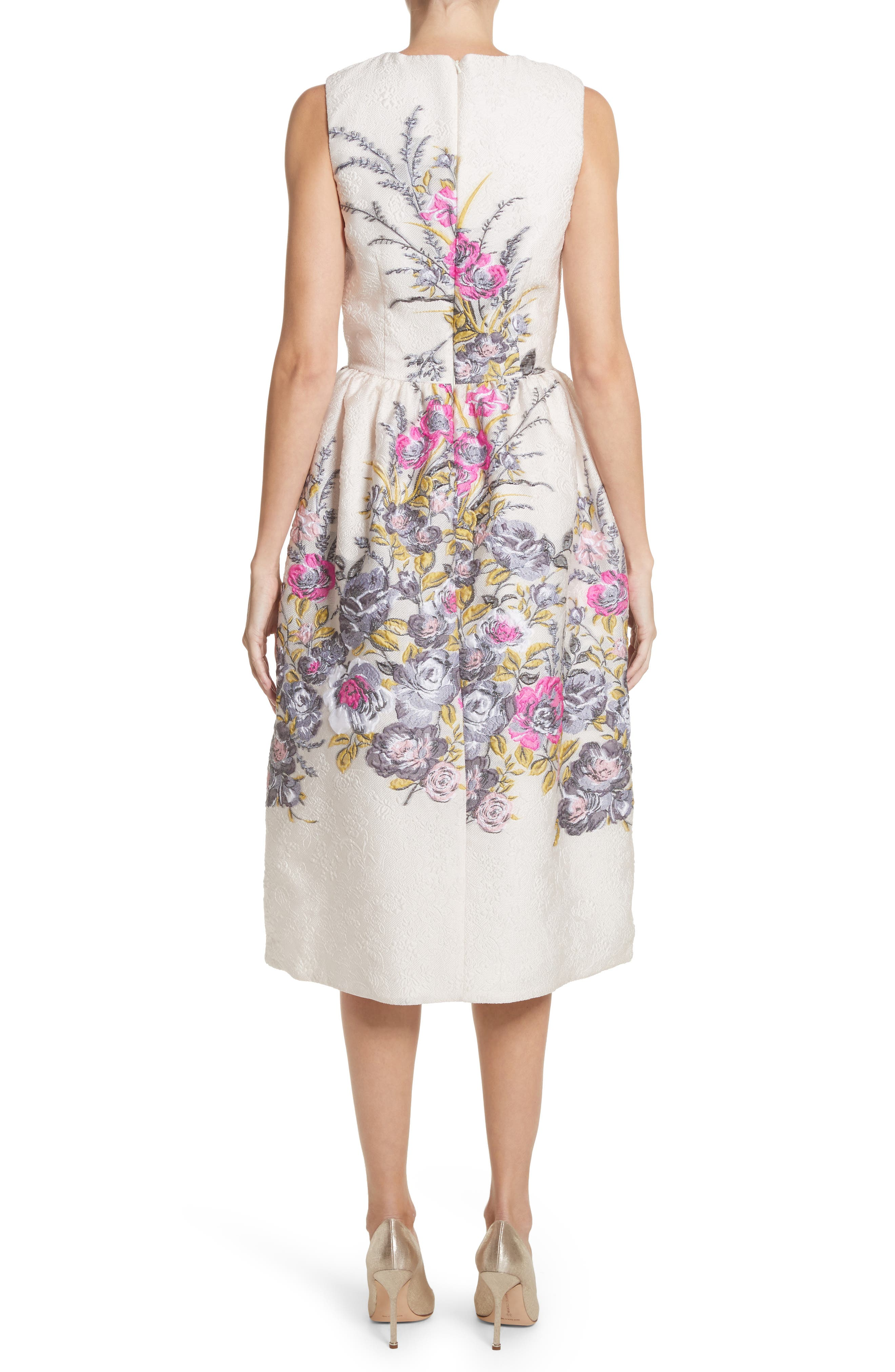 Floral Embroidered Jacquard Dress,                             Alternate thumbnail 2, color,                             Off White Fuchsia