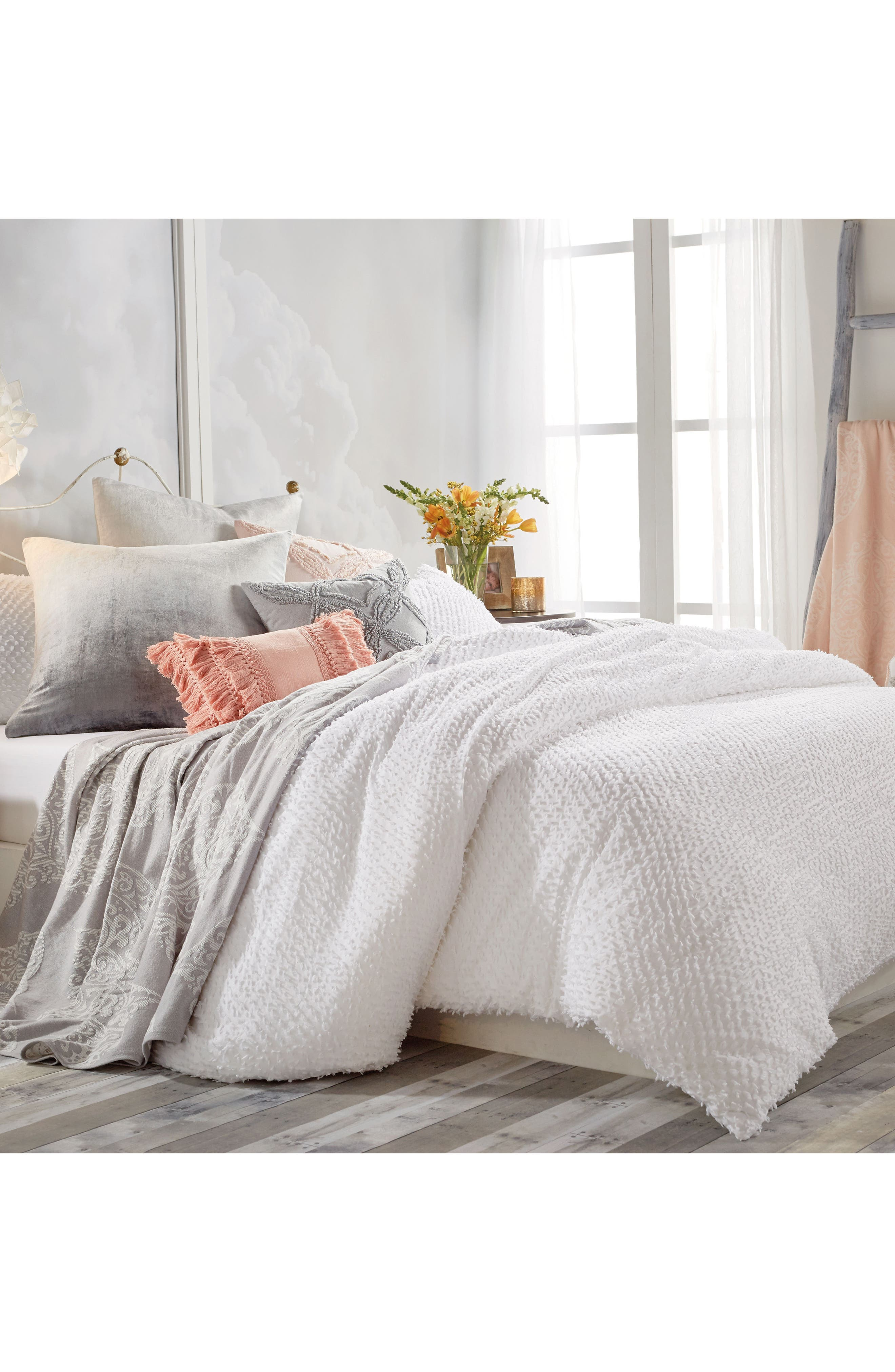 Dot Fringe Comforter & Sham Set,                             Alternate thumbnail 3, color,                             White