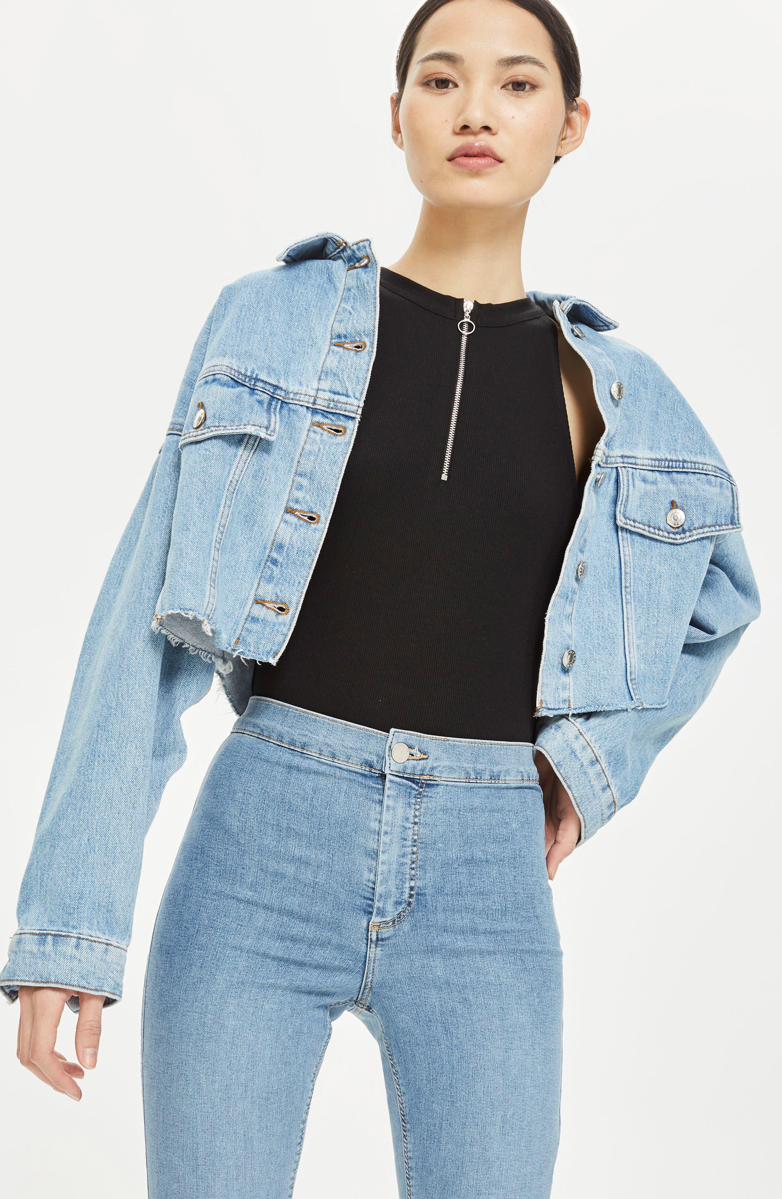 Alternate Image 2  - Topshop Zip Front Bodysuit