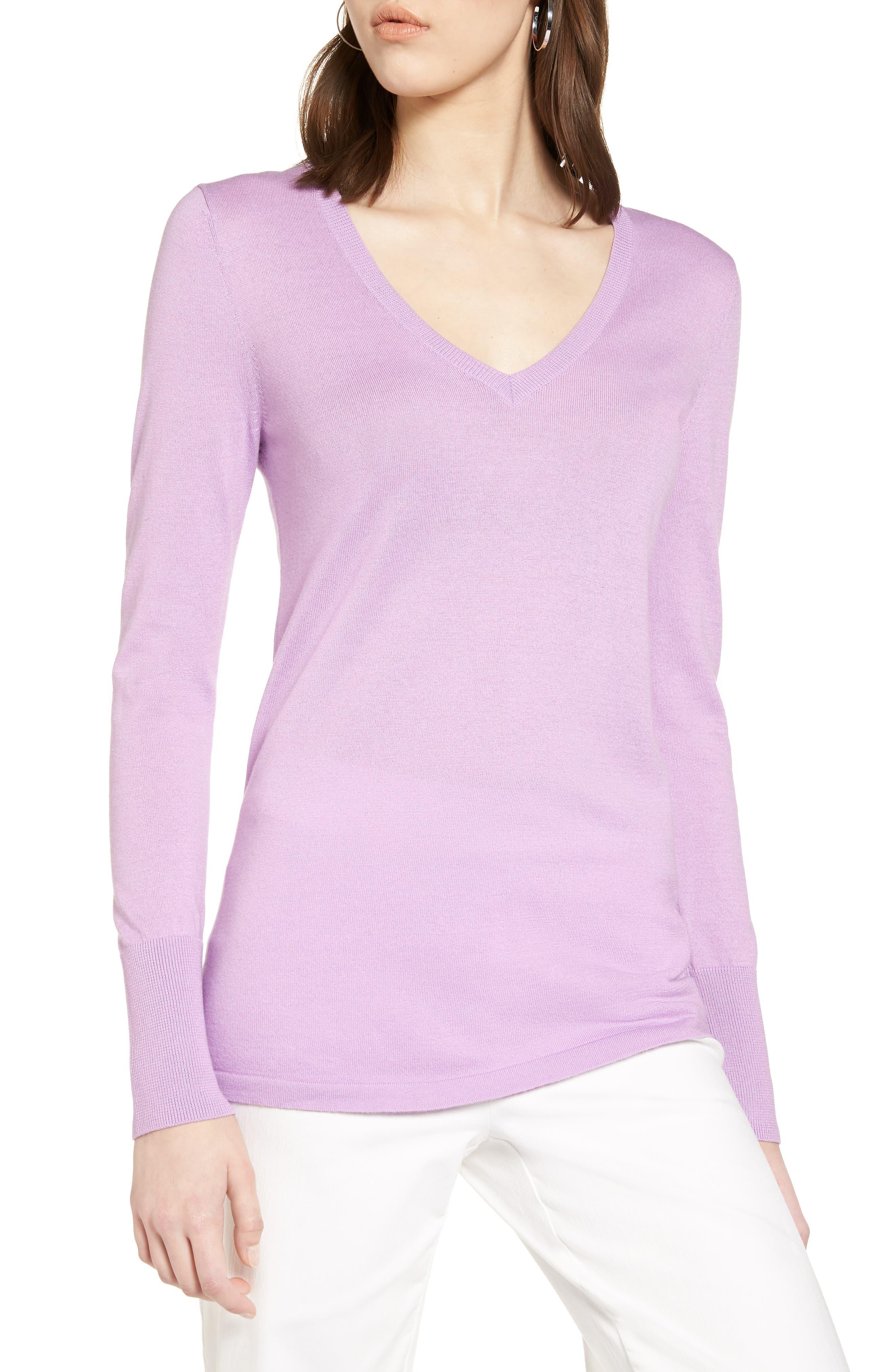 Cotton Blend V-Neck Sweater,                             Main thumbnail 1, color,                             Purple Sheer