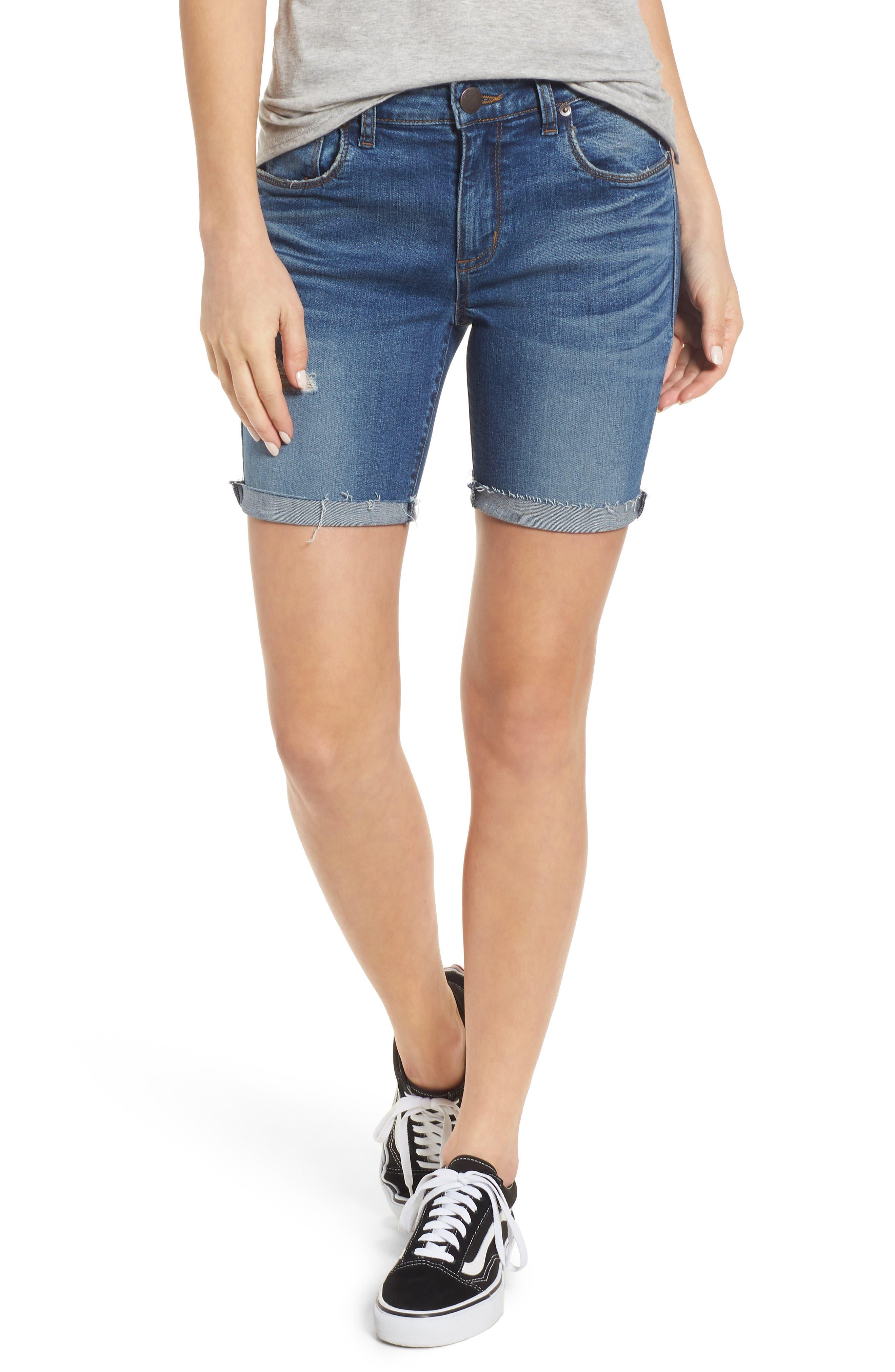 Cuffed Bermuda Denim Shorts,                         Main,                         color, Lilac W/ Med Base