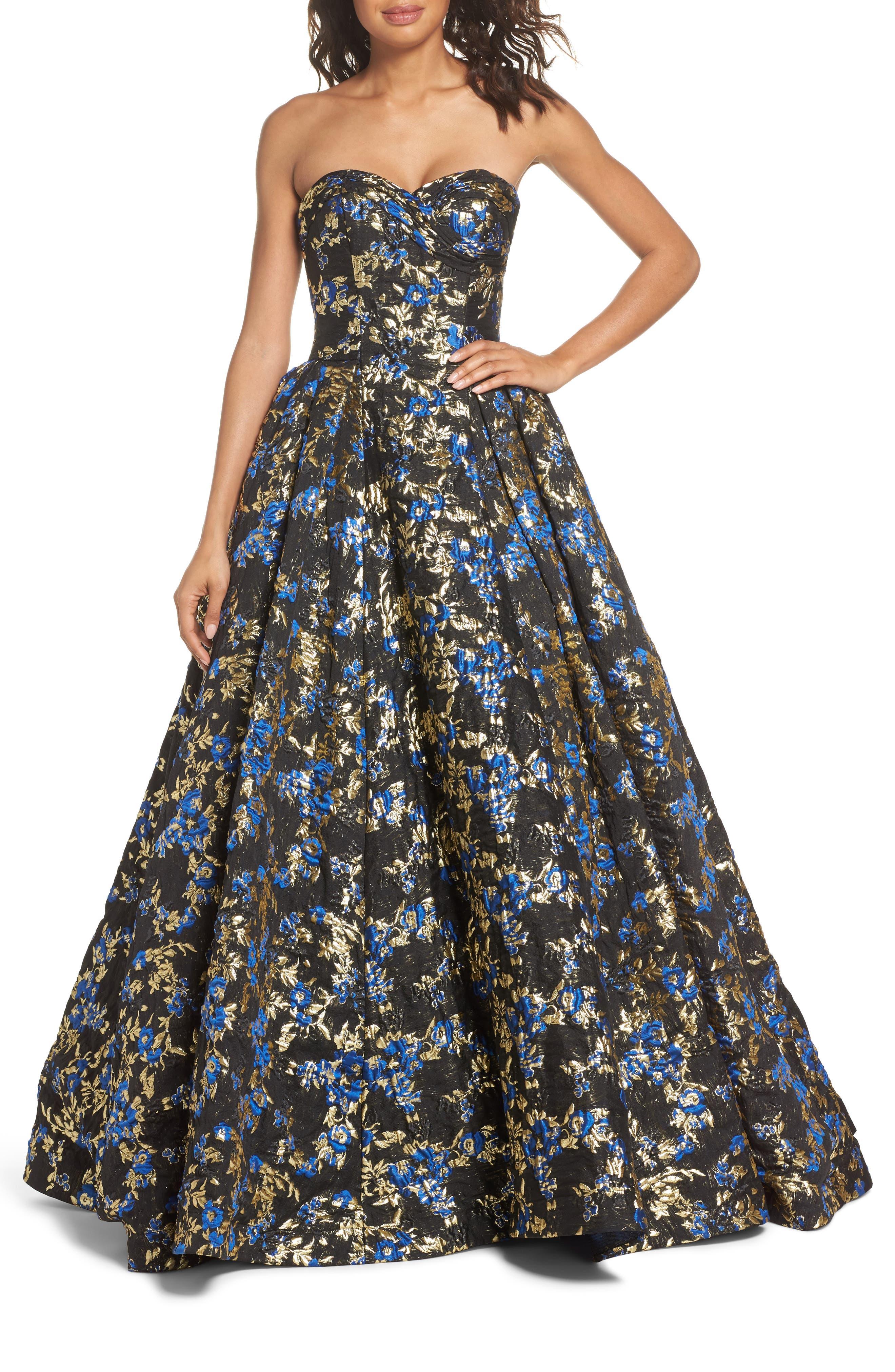 Brocade Bustier Gown,                             Main thumbnail 1, color,                             Royal/ Black