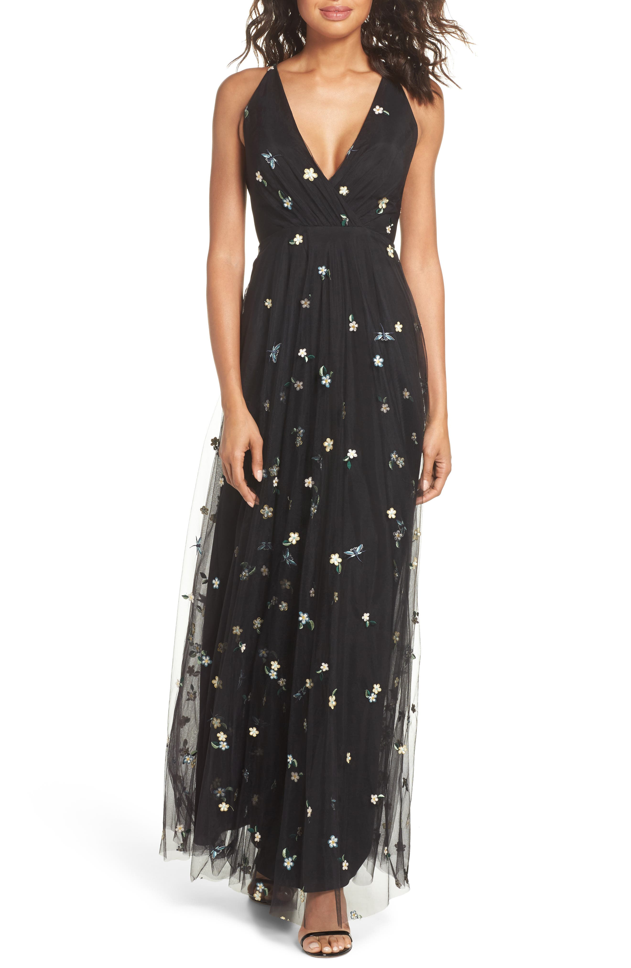 Chelsea Covent Garden Embroidered Gown,                             Main thumbnail 1, color,                             Black Multi