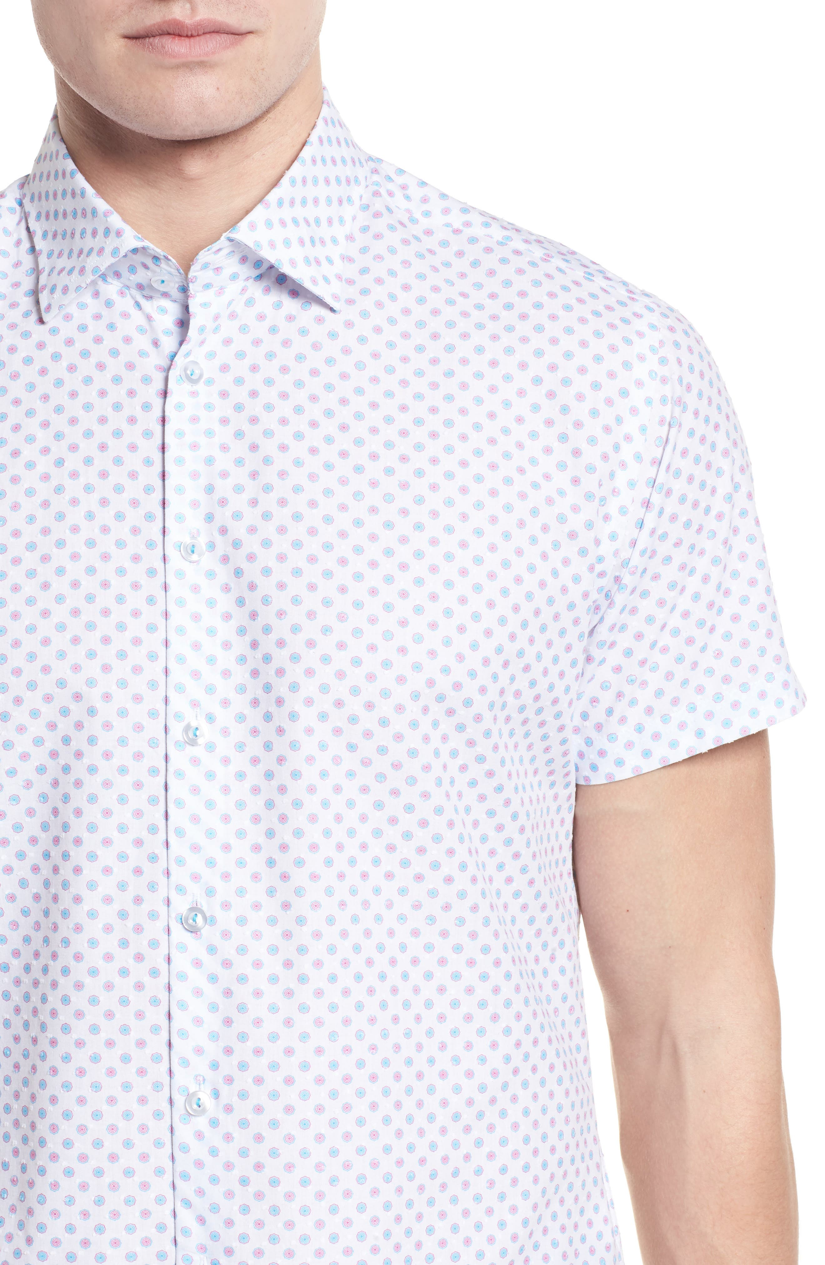Contemporary Fit Umbrella Print Sport Shirt,                             Alternate thumbnail 4, color,                             White