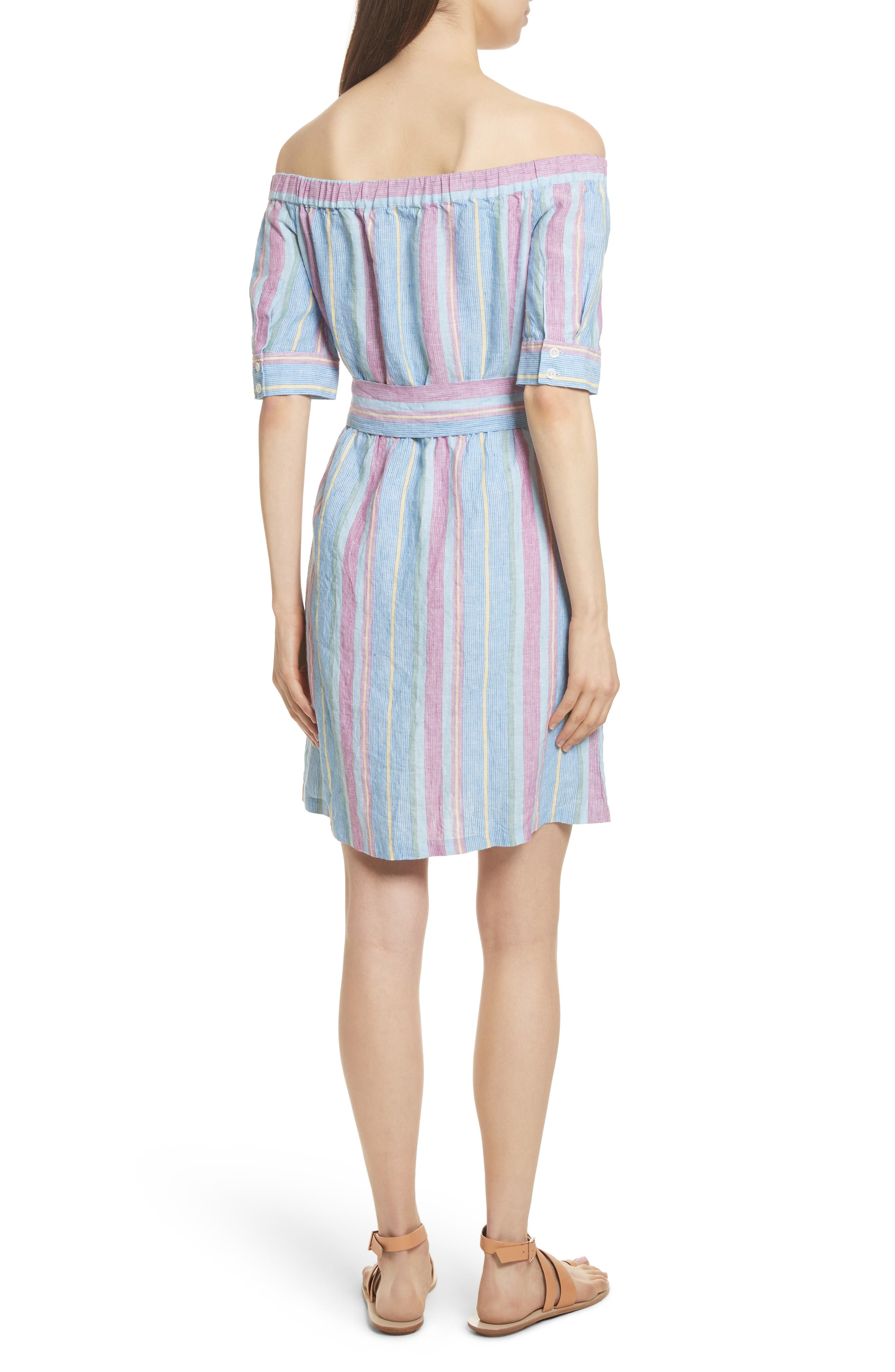 Stripe Off the Shoulder Linen Dress,                             Alternate thumbnail 2, color,                             Purple Multi