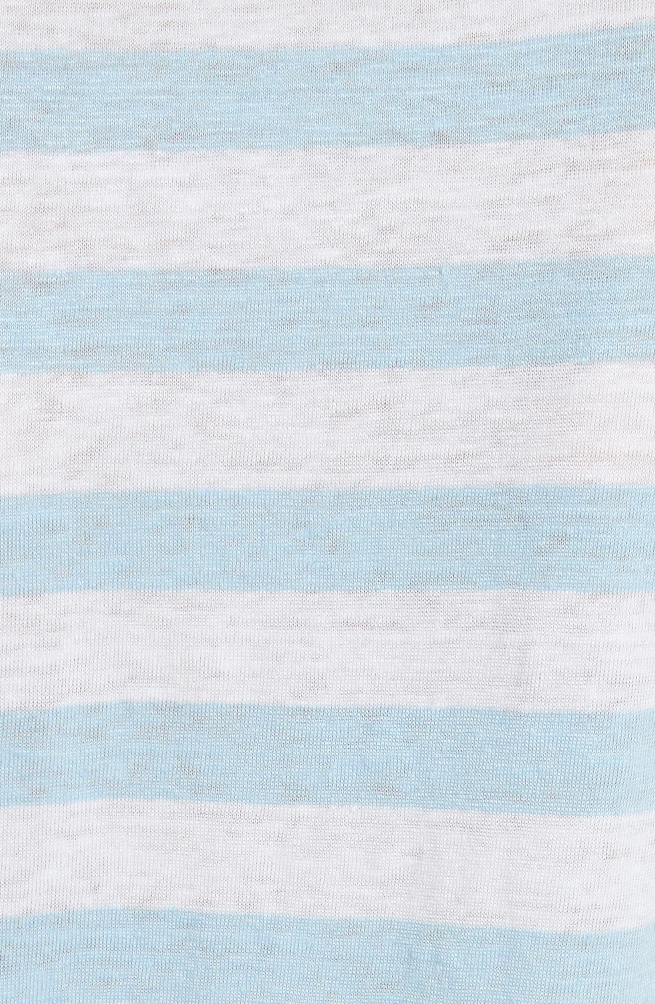 Stripe Raglan Linen Tee,                             Alternate thumbnail 5, color,                             Blanc Multi