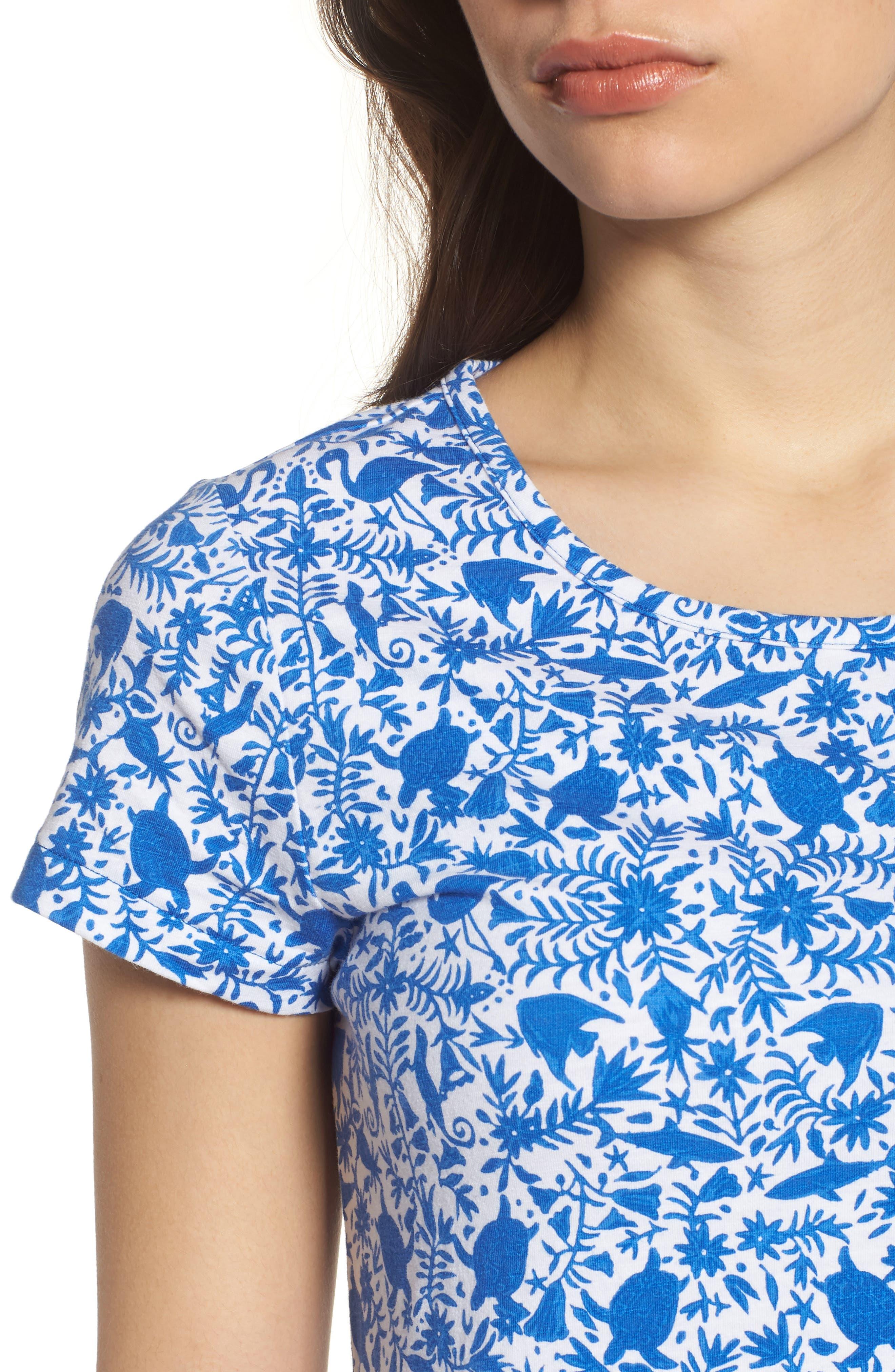 Bahamas Otomi Print Stretch Cotton Dress,                             Alternate thumbnail 4, color,                             Yacht Blue