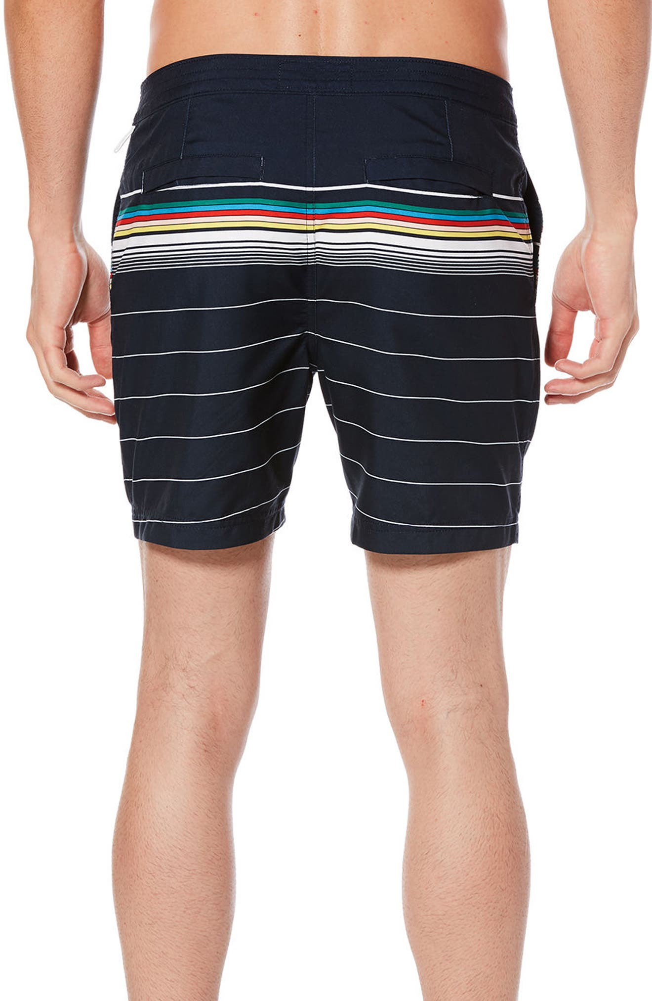 Bold Stripe Volley Board Shorts,                             Alternate thumbnail 2, color,                             Dark Sapphire