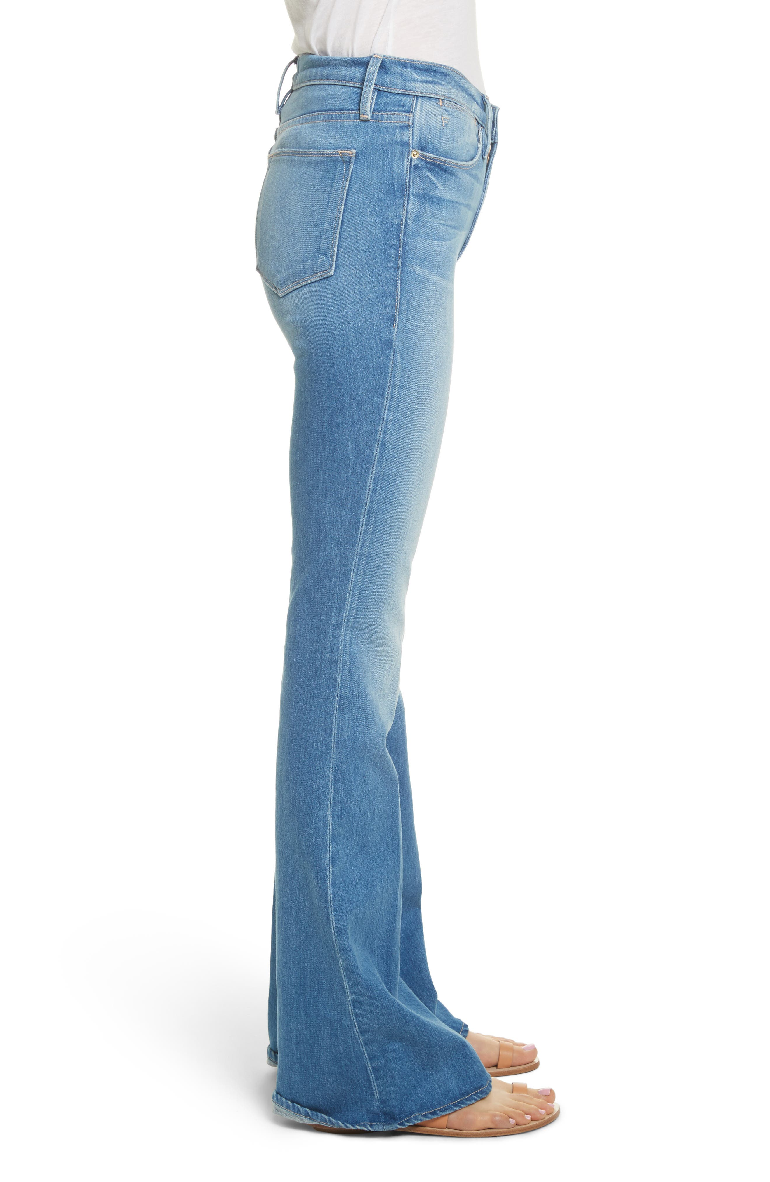 Le High Flare Jeans,                             Alternate thumbnail 3, color,                             Brightwalton