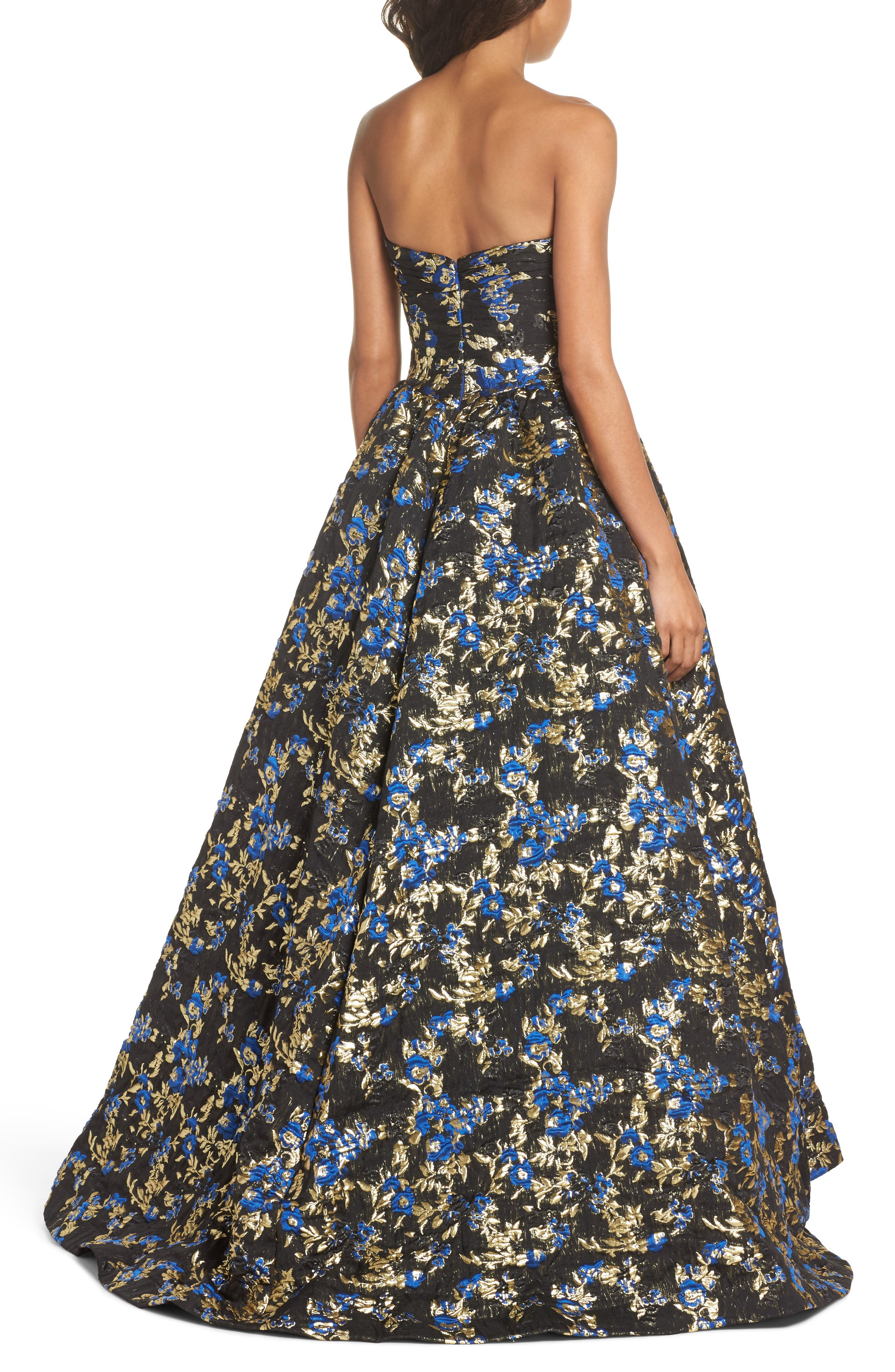 Brocade Bustier Gown,                             Alternate thumbnail 2, color,                             Royal/ Black