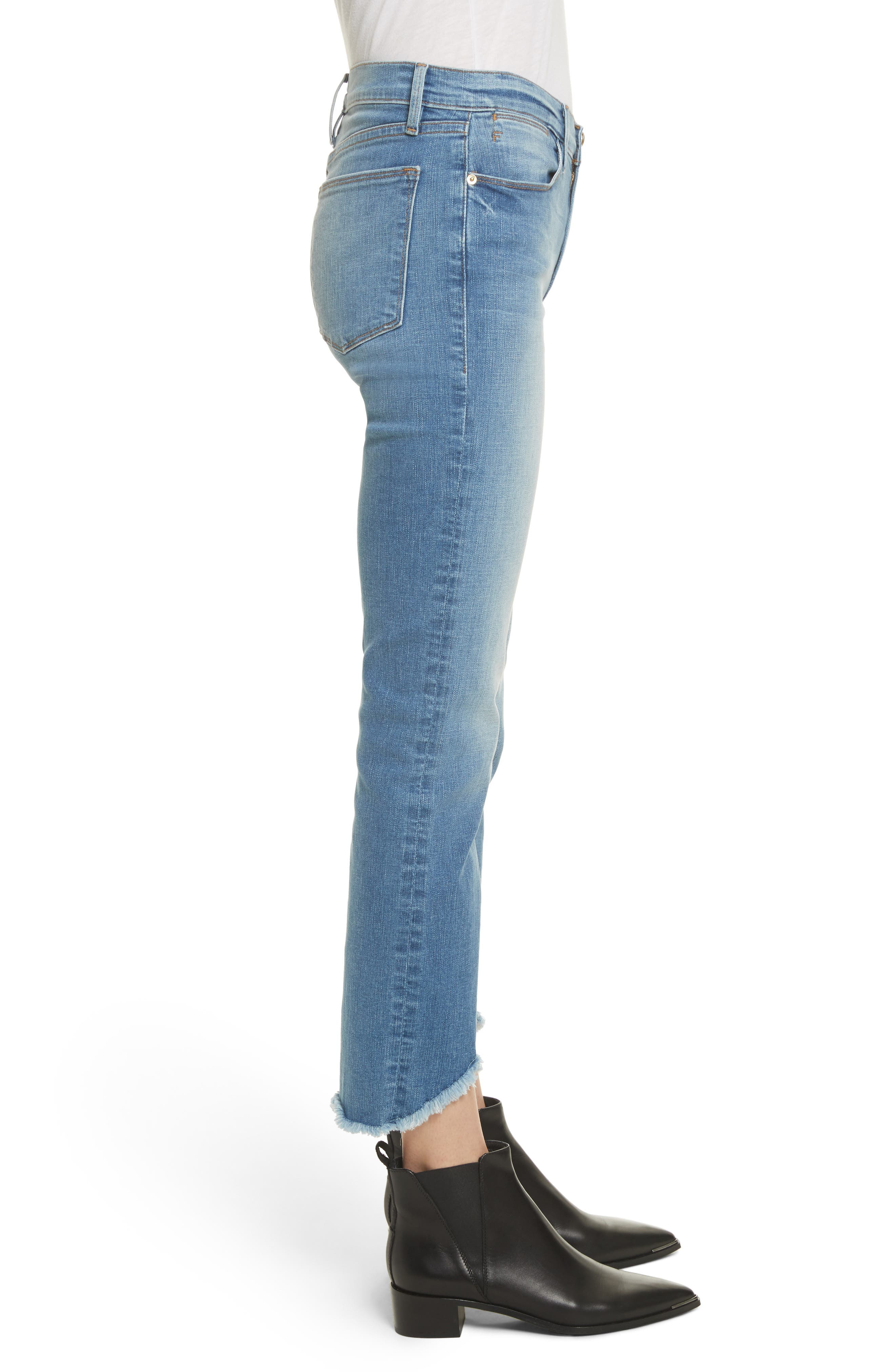 Le High Straight High Waist Triangle Hem Jeans,                             Alternate thumbnail 3, color,                             White Chapel