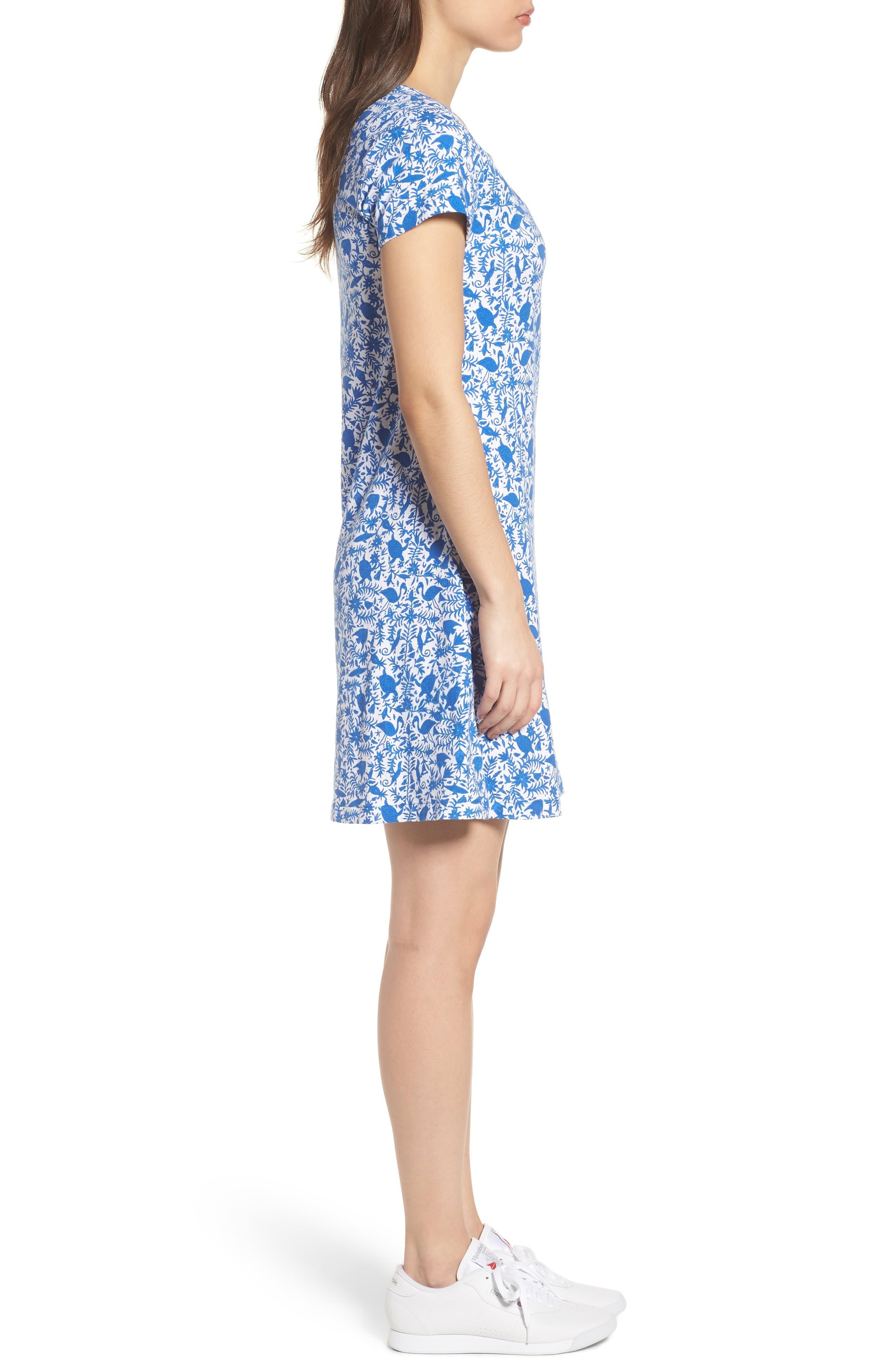 Bahamas Otomi Print Stretch Cotton Dress,                             Alternate thumbnail 3, color,                             Yacht Blue