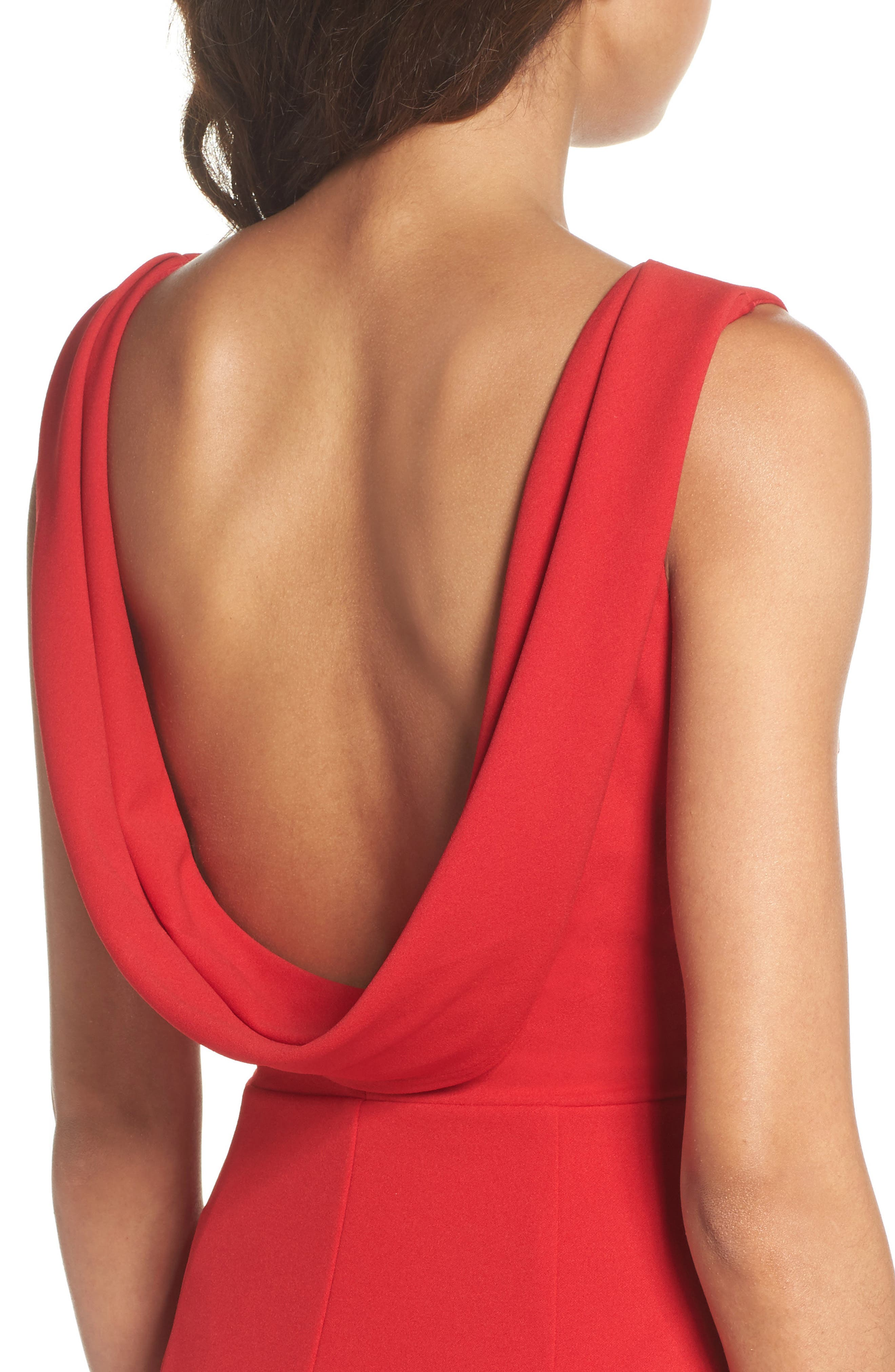 Vionnet Drape Back Crepe Gown,                             Alternate thumbnail 4, color,                             Red