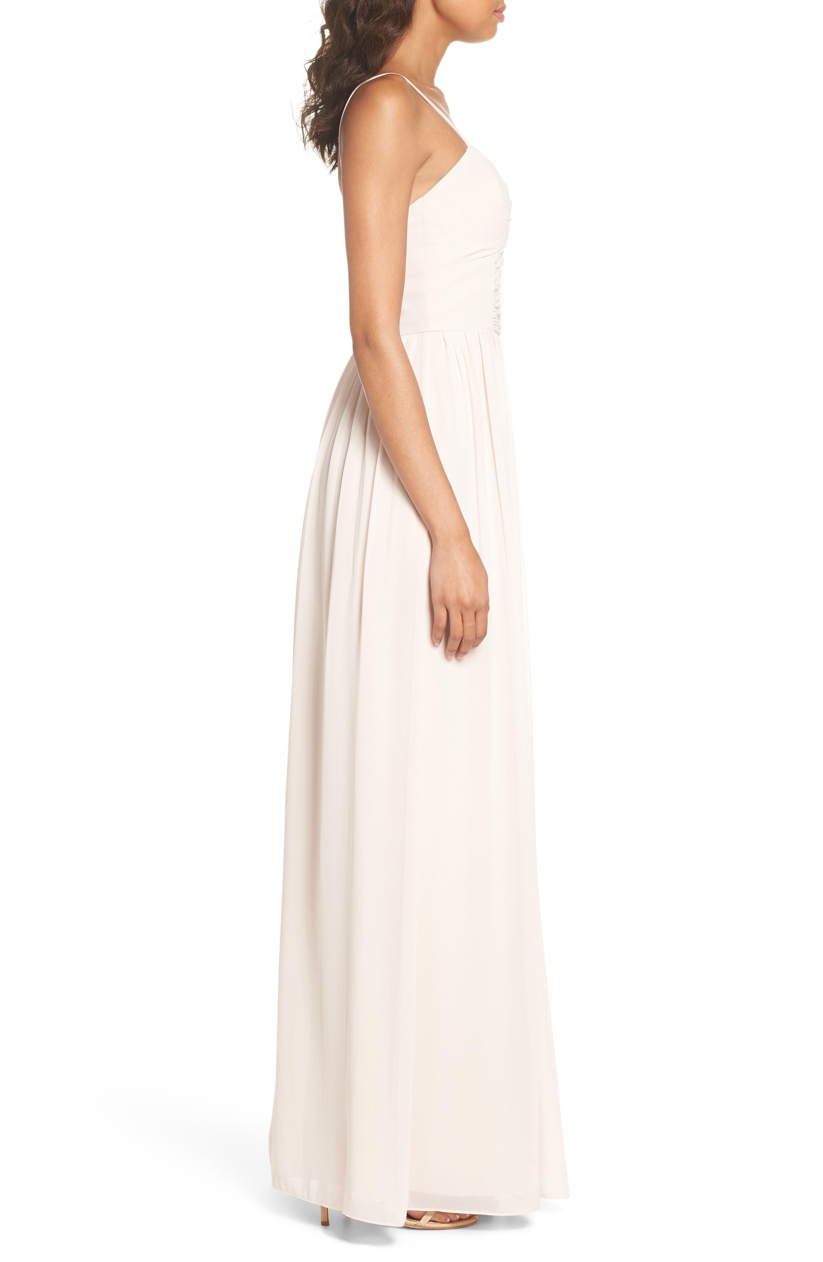 Ruffle Detail A-Line Chiffon Gown,                             Alternate thumbnail 3, color,                             Blush Cashmere