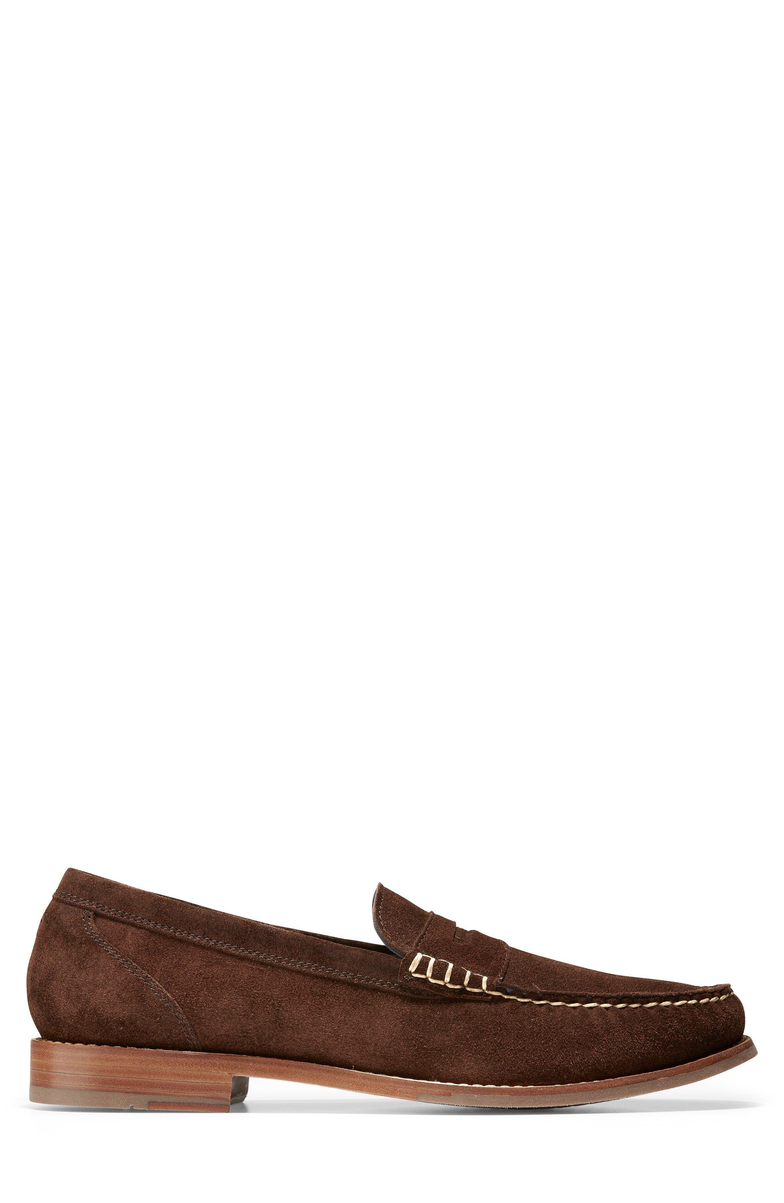 'Pinch Grand' Penny Loafer,                             Alternate thumbnail 3, color,                             Brown Suede