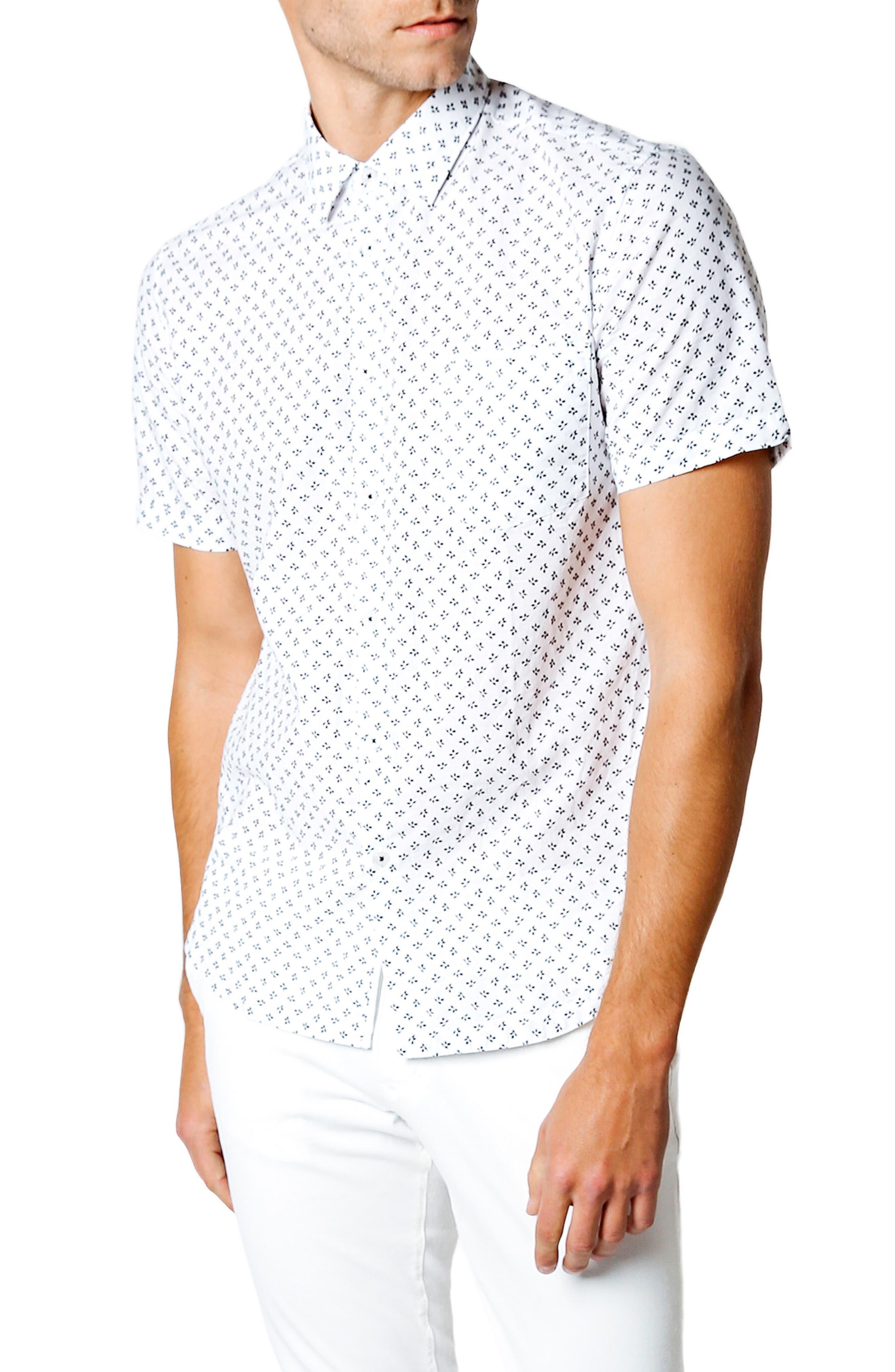 Trim Fit Print Sport Shirt,                             Main thumbnail 1, color,                             White