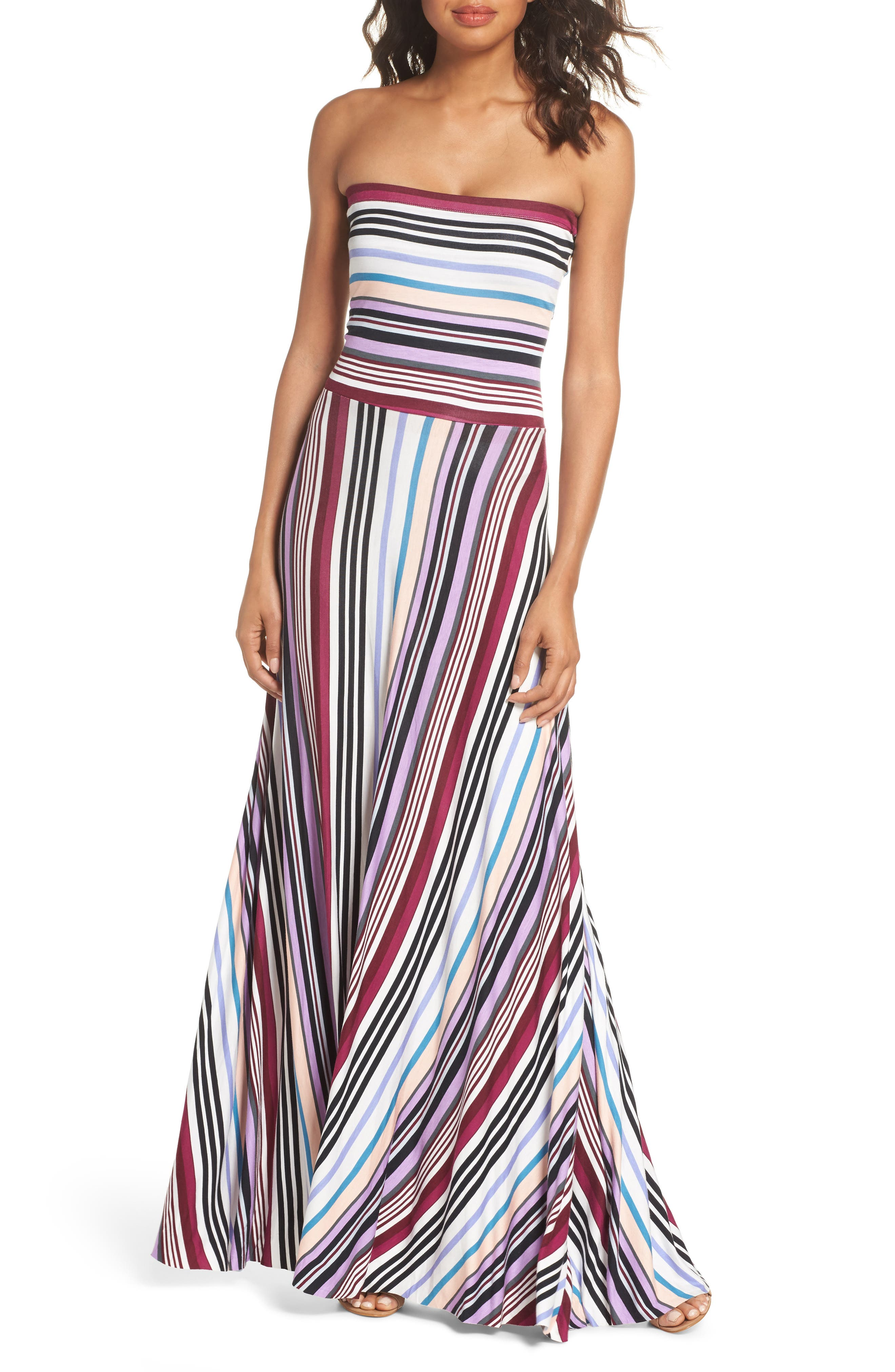 Clemette Strapless Maxi Dress,                             Main thumbnail 1, color,                             Purple Multi Stripe