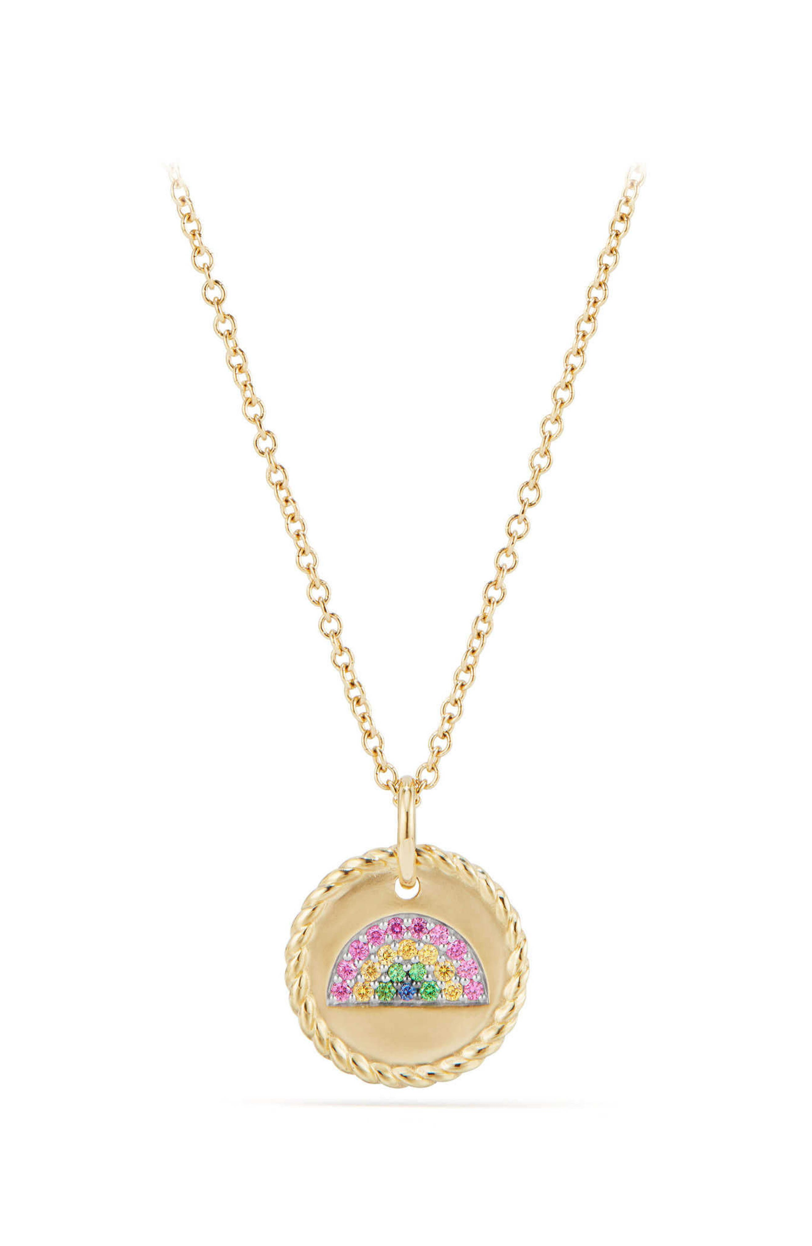 Cable Collectibles Rainbow Necklace with Pink & Yellow Sapphires & Tsavorite in 18K Gold,                             Main thumbnail 1, color,                             Gold/ Pink Sapphire