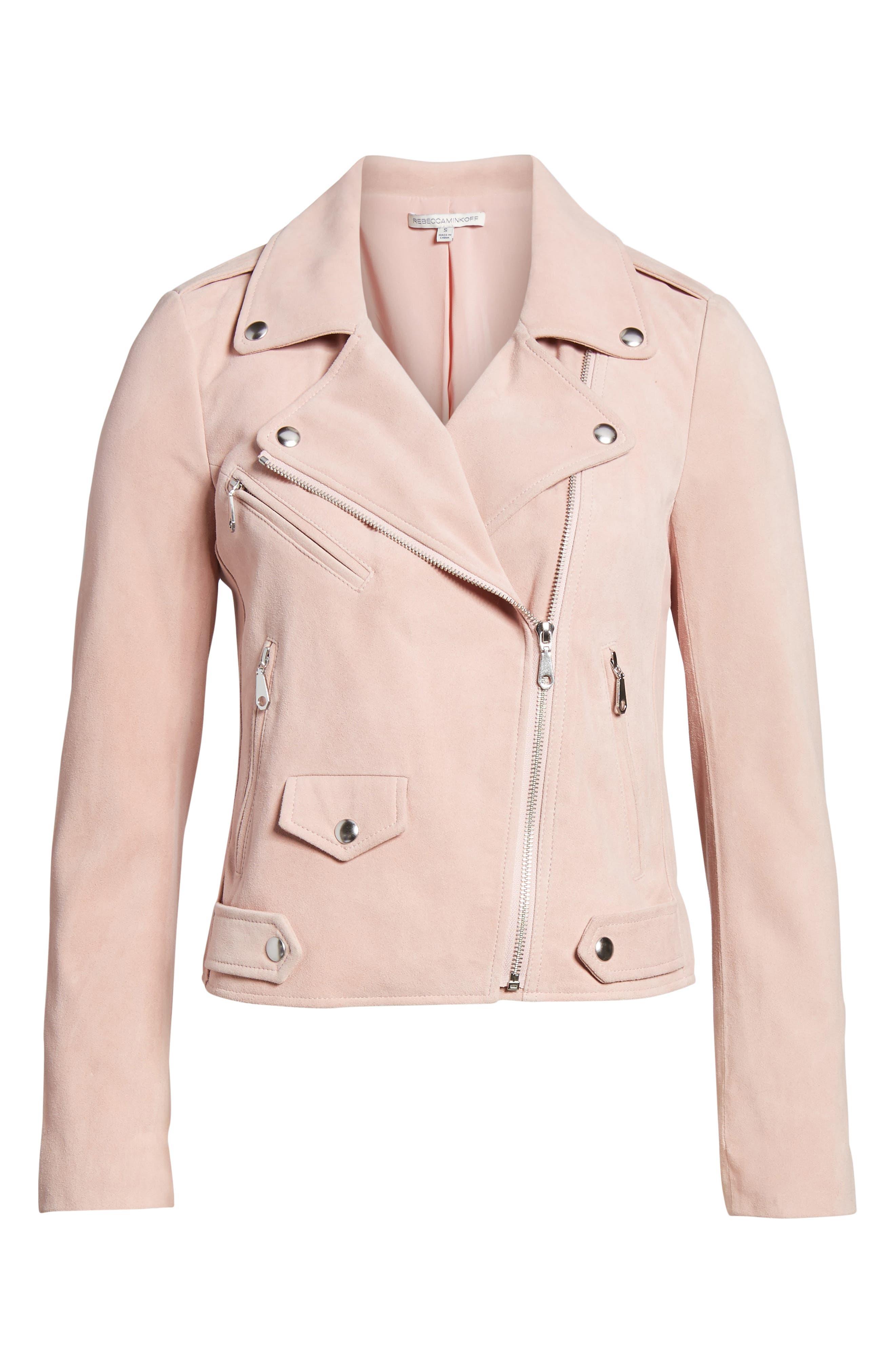 Wes Suede Moto Jacket,                             Alternate thumbnail 6, color,                             Light Pink