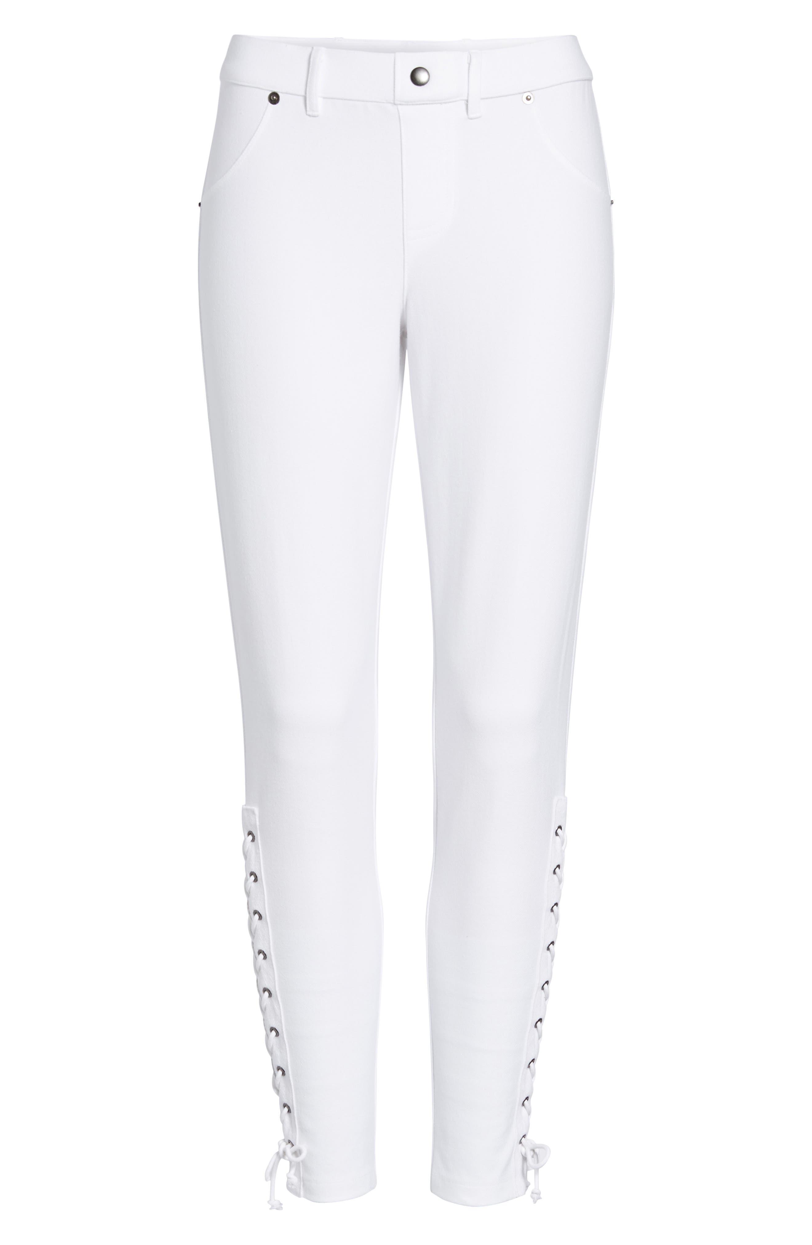 Lace-Up Denim Leggings,                             Alternate thumbnail 6, color,                             White