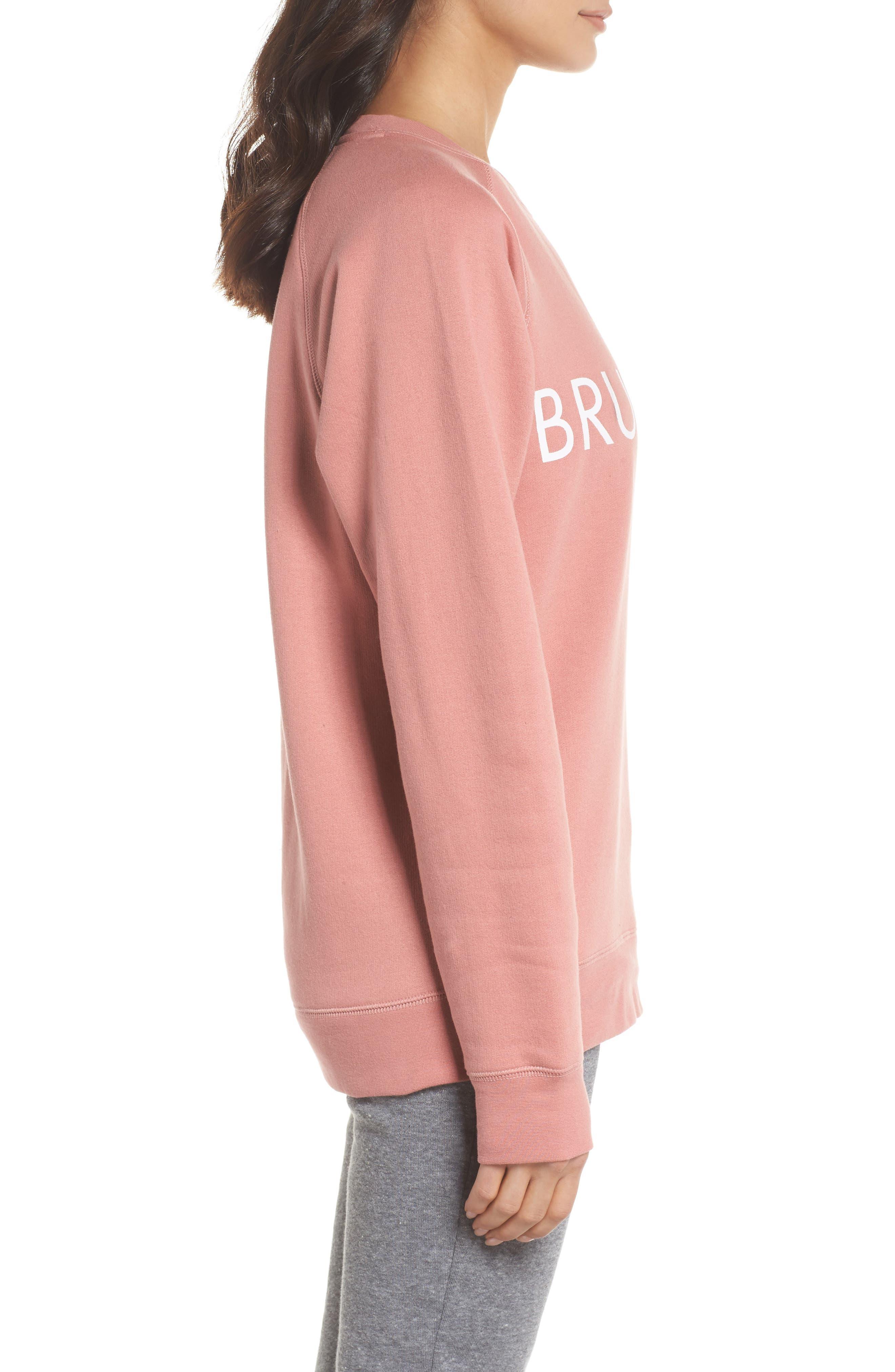 Brunette Crewneck Sweatshirt,                             Alternate thumbnail 3, color,                             Dusty Rose
