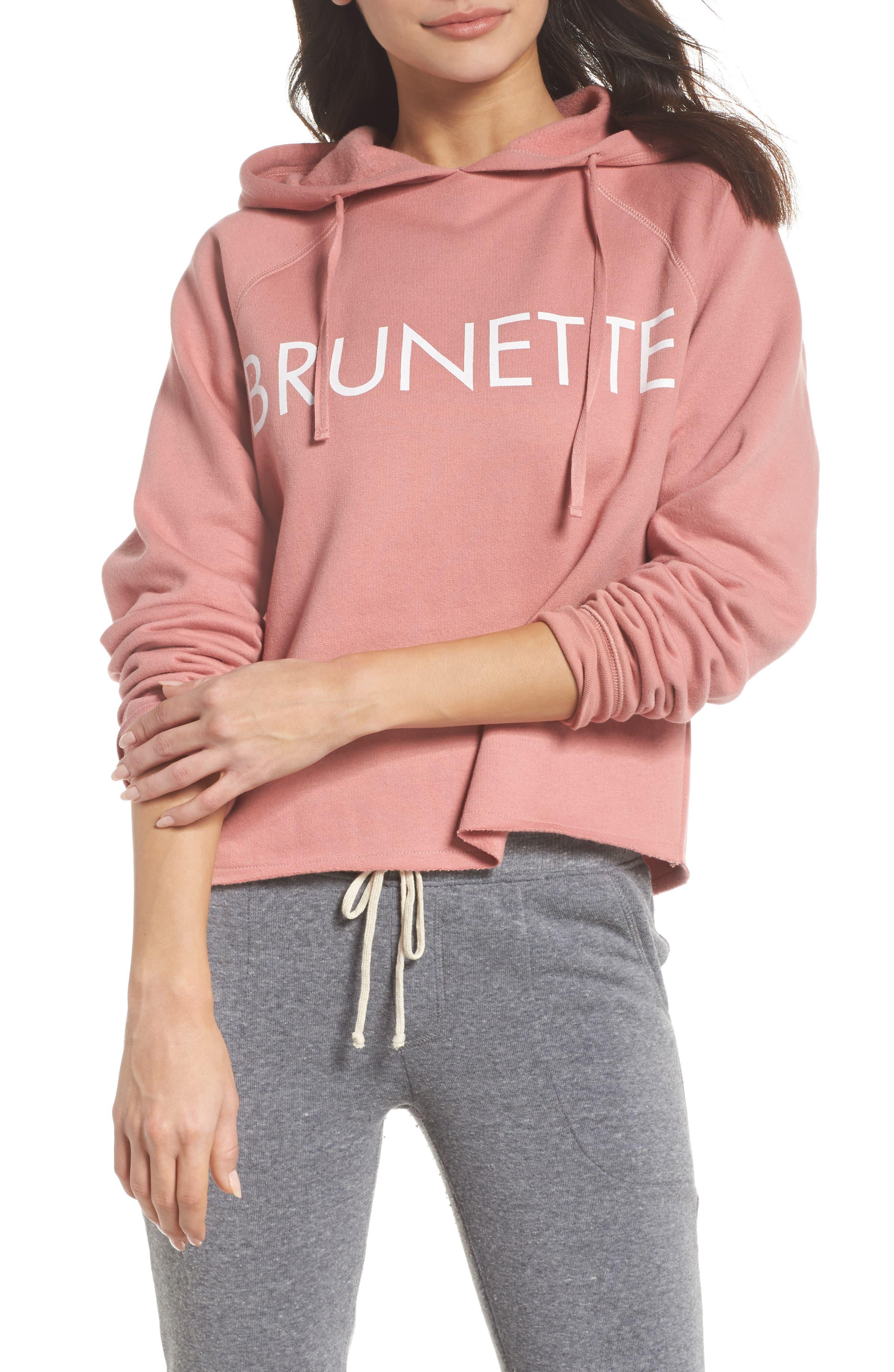 Brunette Raw Hem Hoodie,                         Main,                         color, Dusty Rose