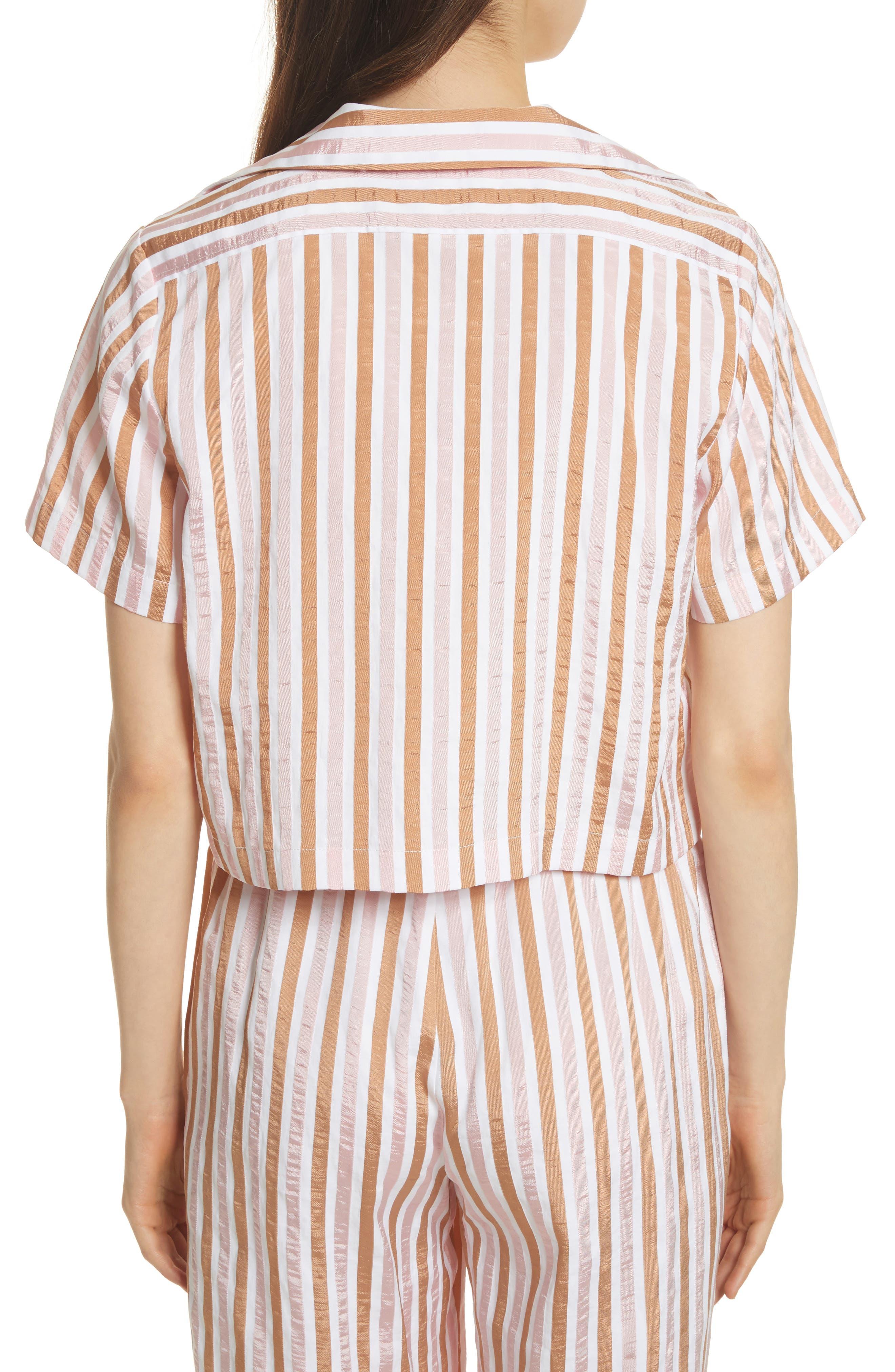 Stripe Mini Crop Shirt,                             Alternate thumbnail 3, color,                             Copper Multi