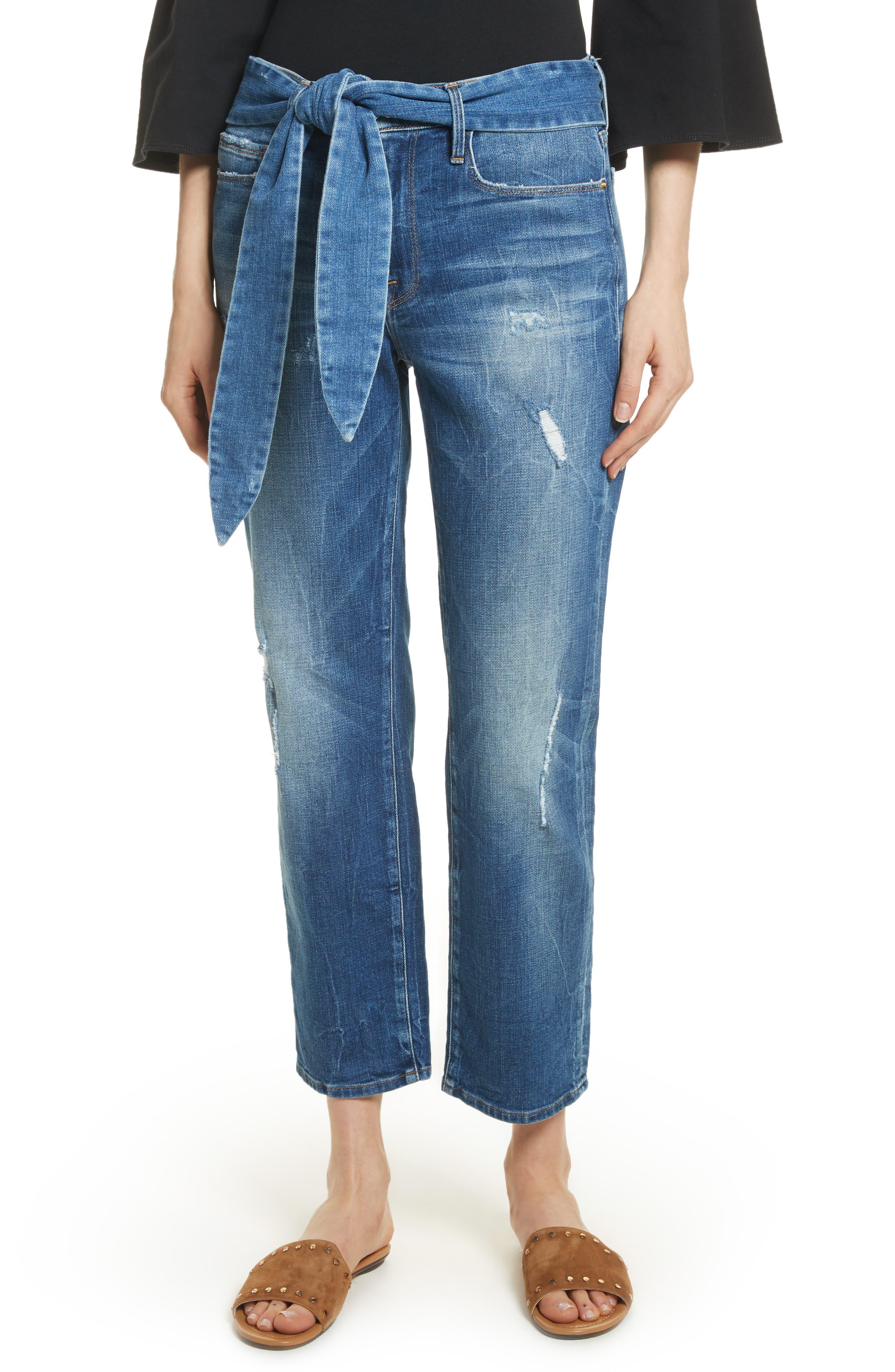 FRAME Le Nouveau Belted Straight Leg Crop Jeans (Waltham)