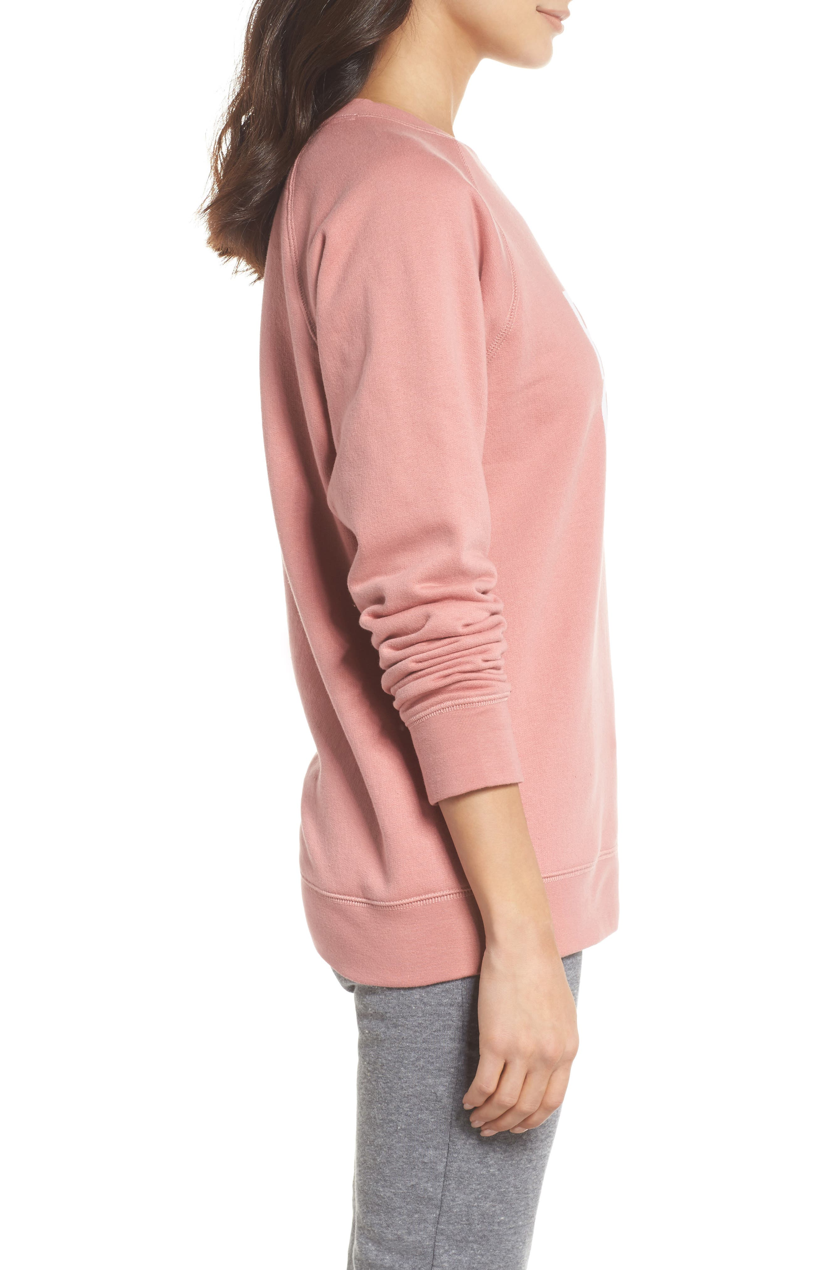 Rosé Okay Sweatshirt,                             Alternate thumbnail 3, color,                             Dusty Rose
