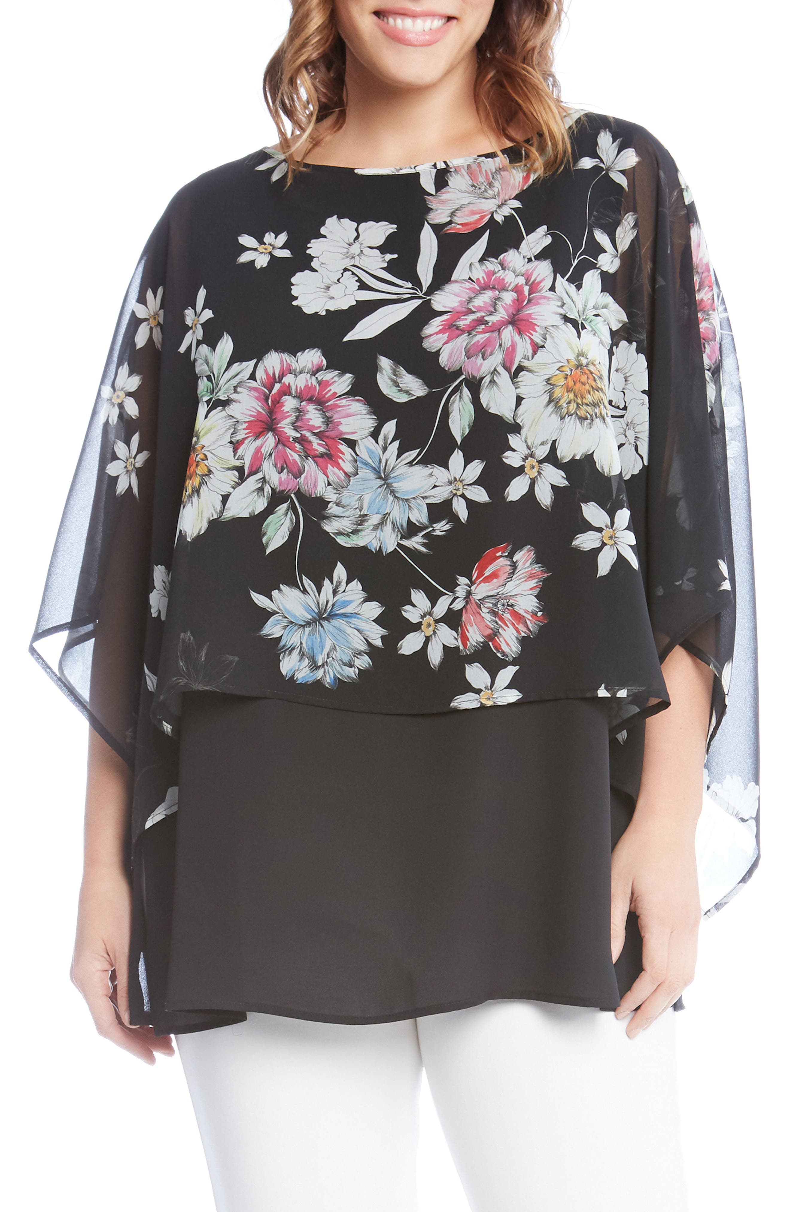 Sheer Floral Overlay Top,                         Main,                         color, Black