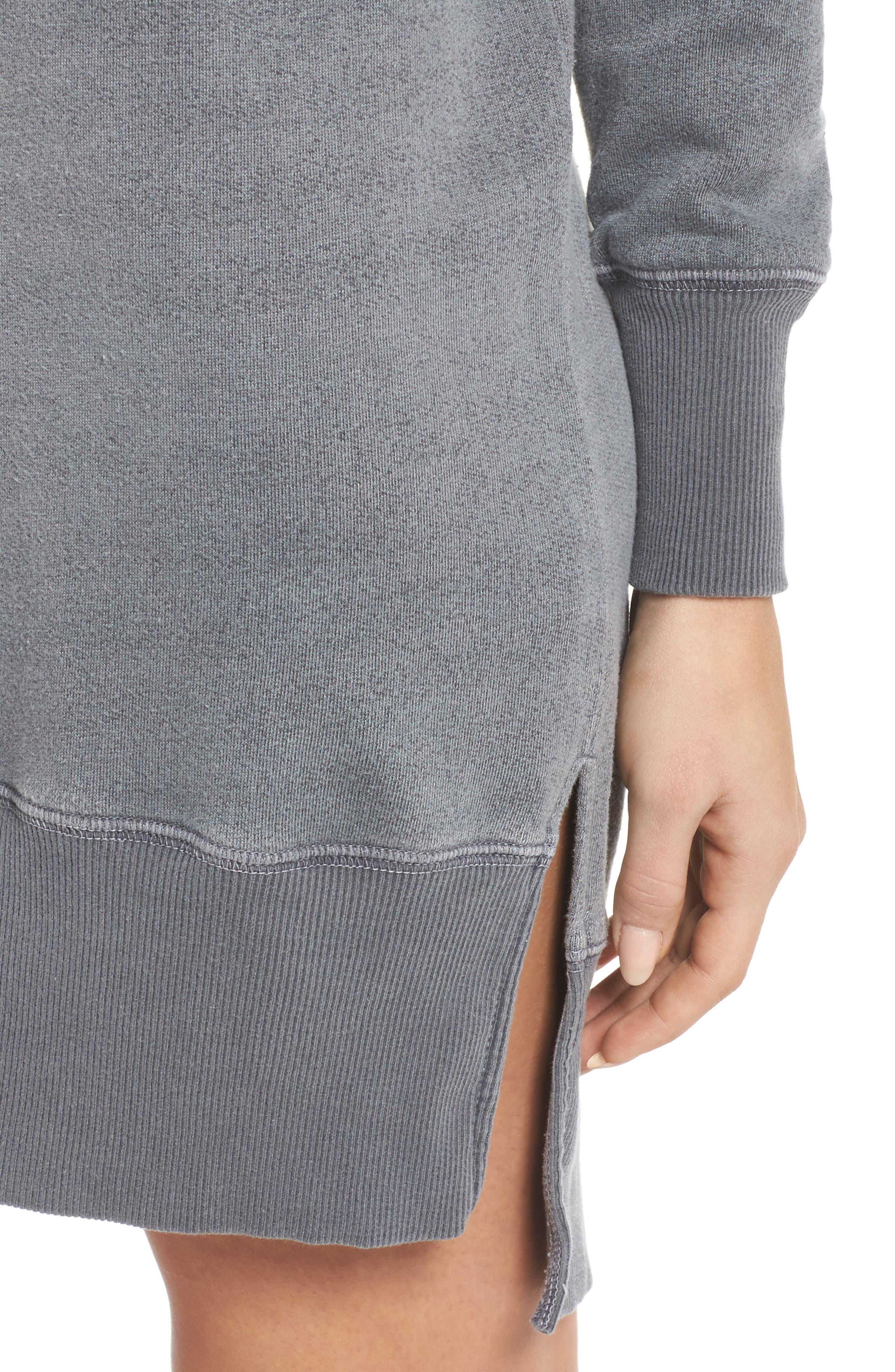 Lounge Sweatshirt Dress,                             Alternate thumbnail 5, color,                             Faded Black