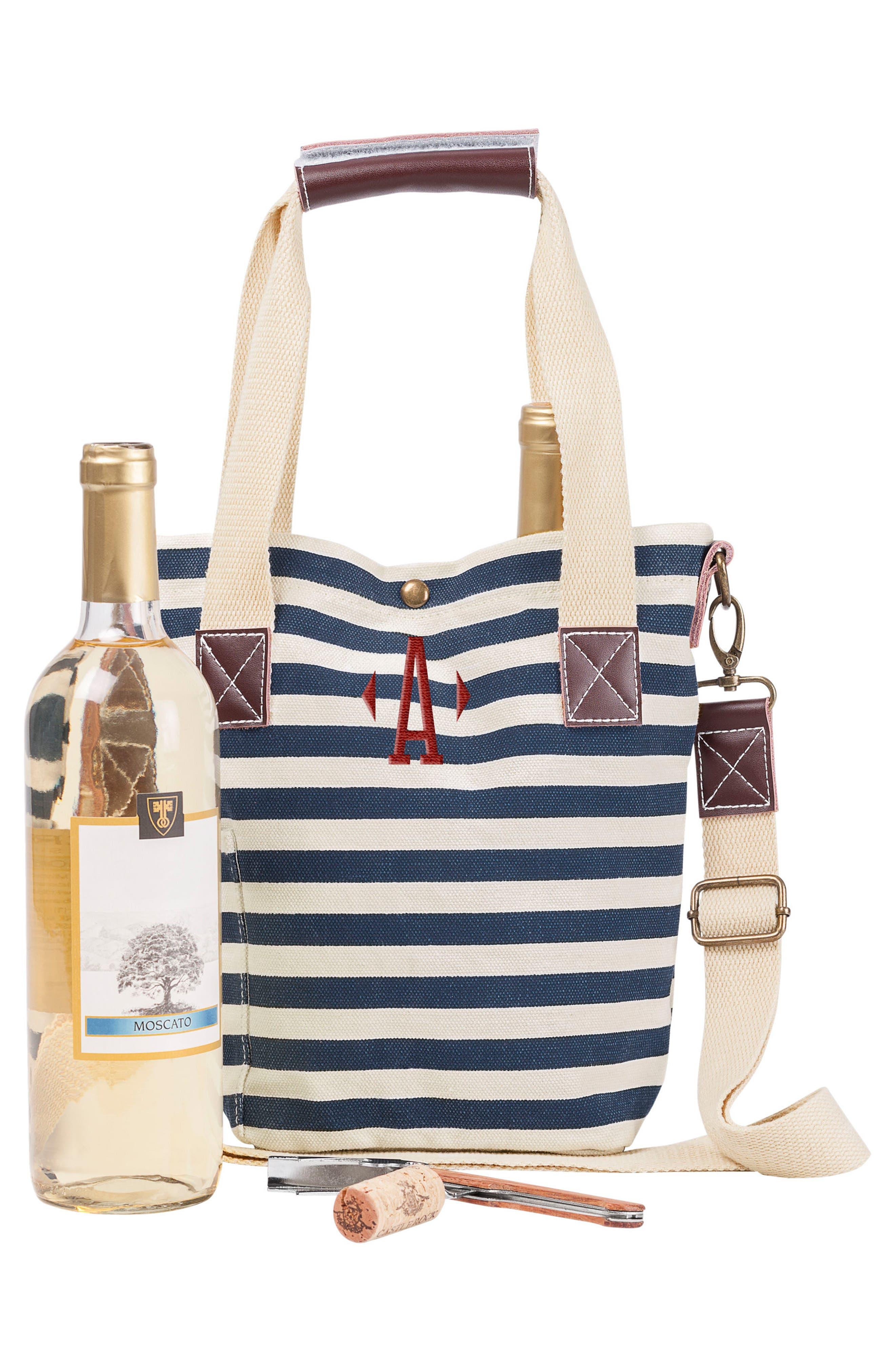 Monogram Stripe Wine Tote,                         Main,                         color, Blue-A