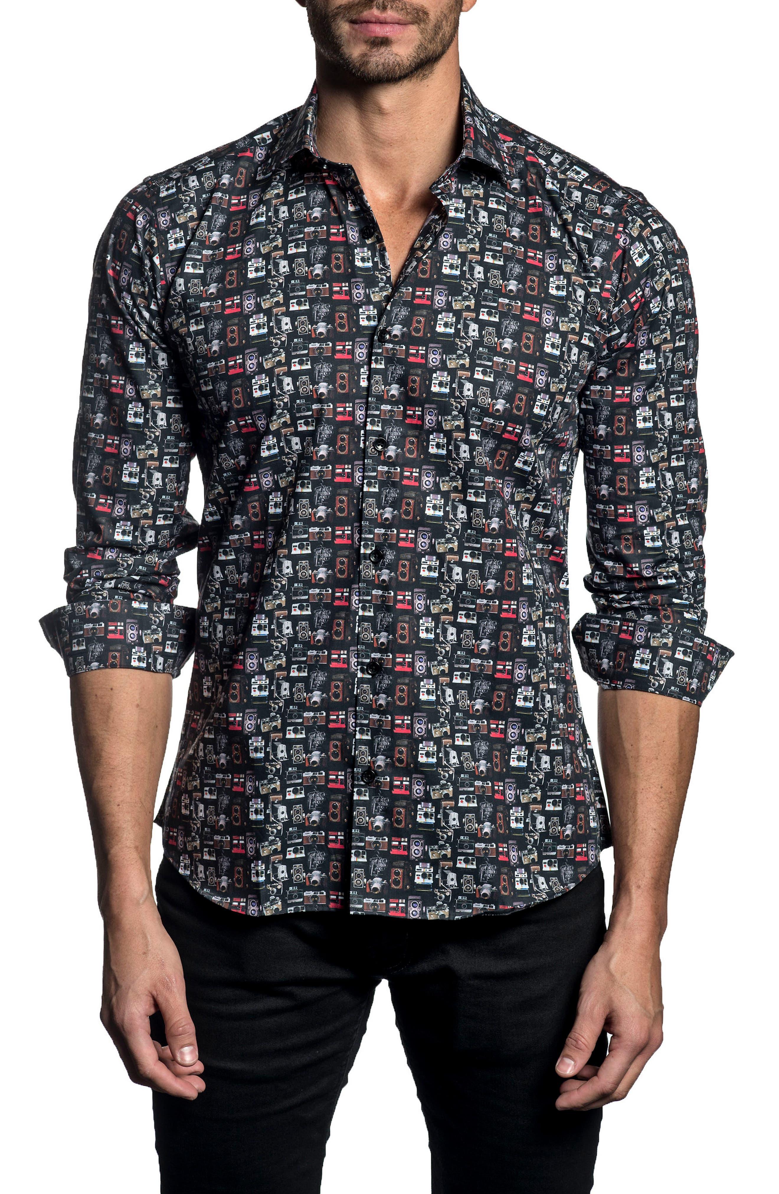 Trim Fit Print Sport Shirt,                         Main,                         color, Black Print