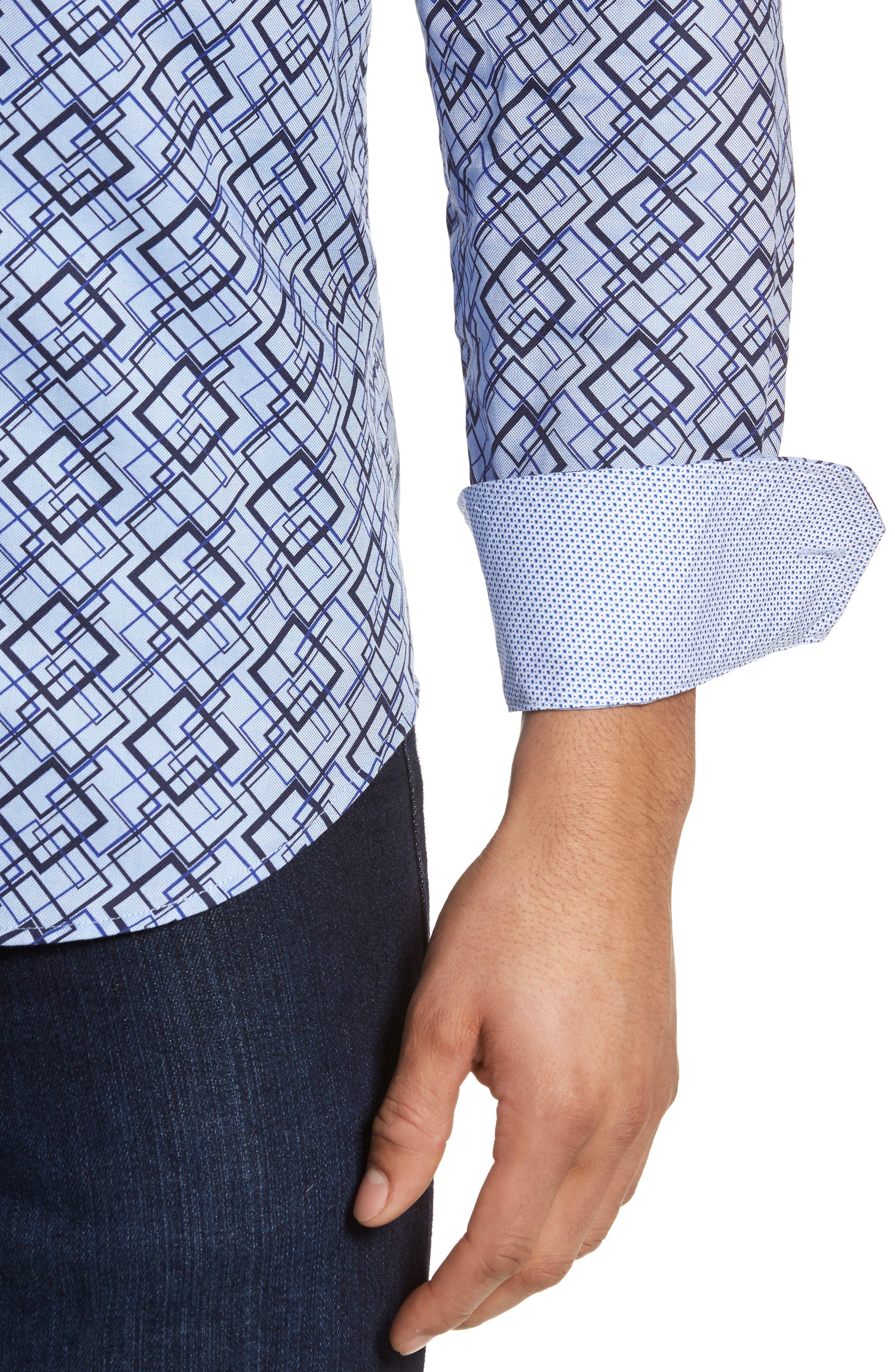 Classic Fit Woven Sport Shirt,                             Alternate thumbnail 4, color,                             Classic Blue