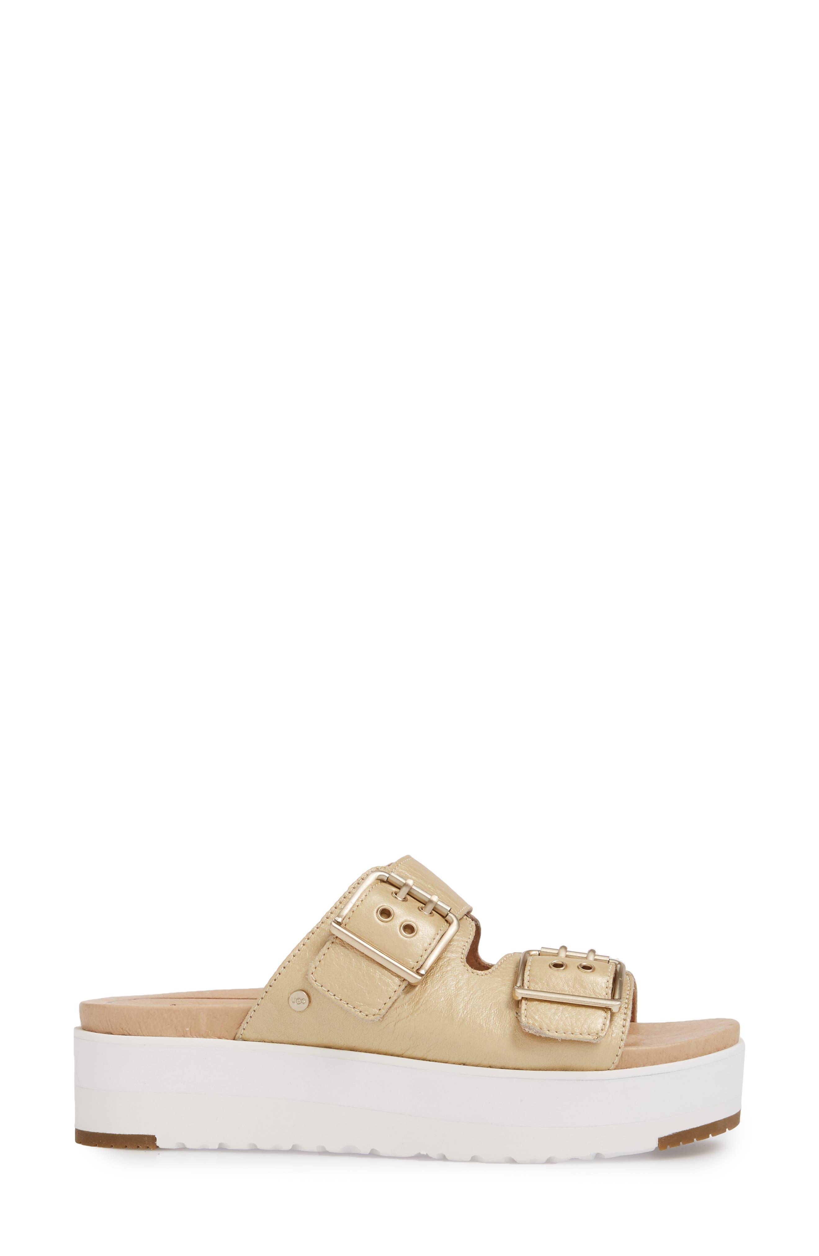 Cammie Platform Sandal,                             Alternate thumbnail 3, color,                             Gold Patent Leather