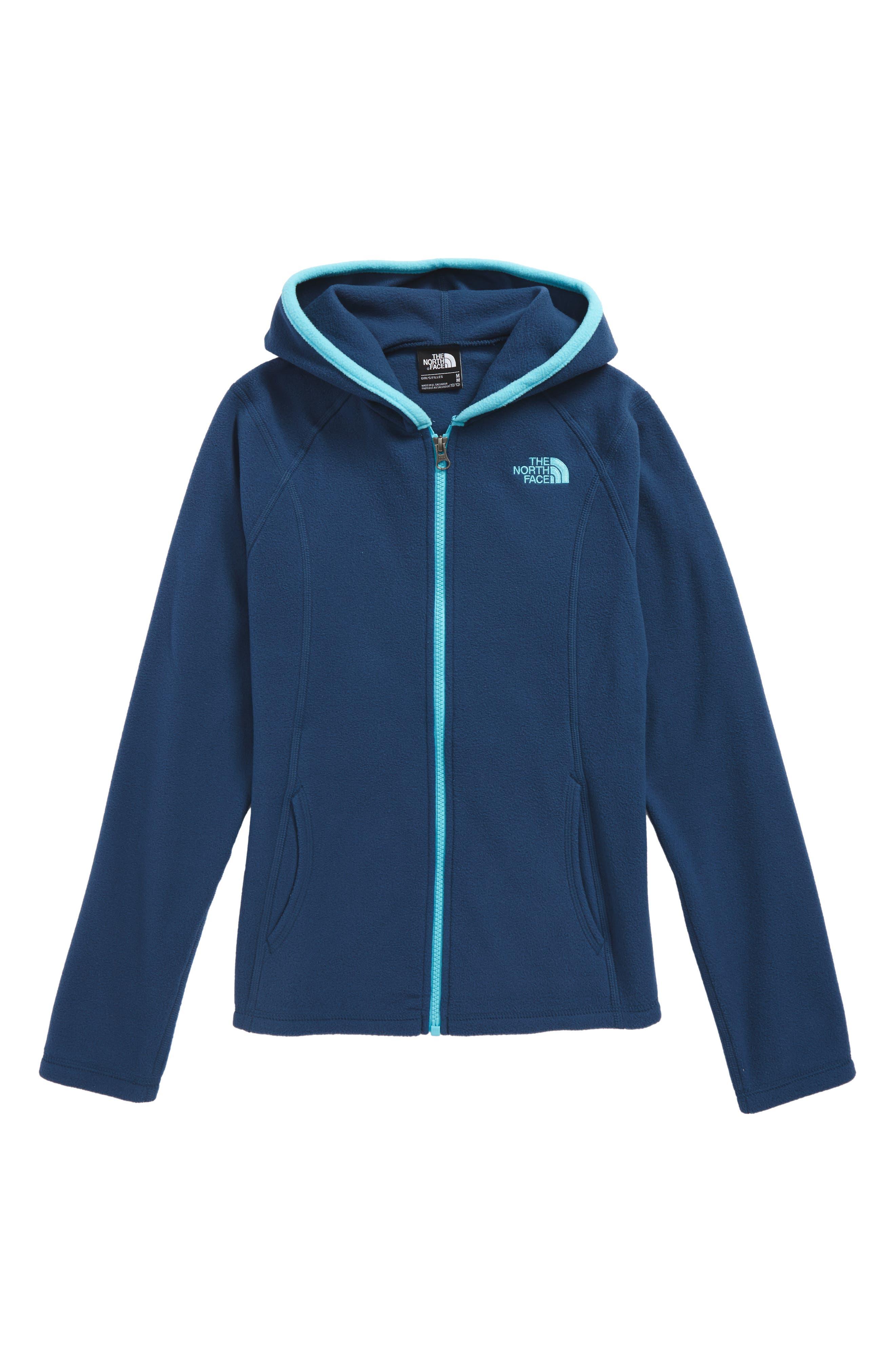 Glacier Full Zip Fleece Hoodie,                         Main,                         color, Blue Wing Teal