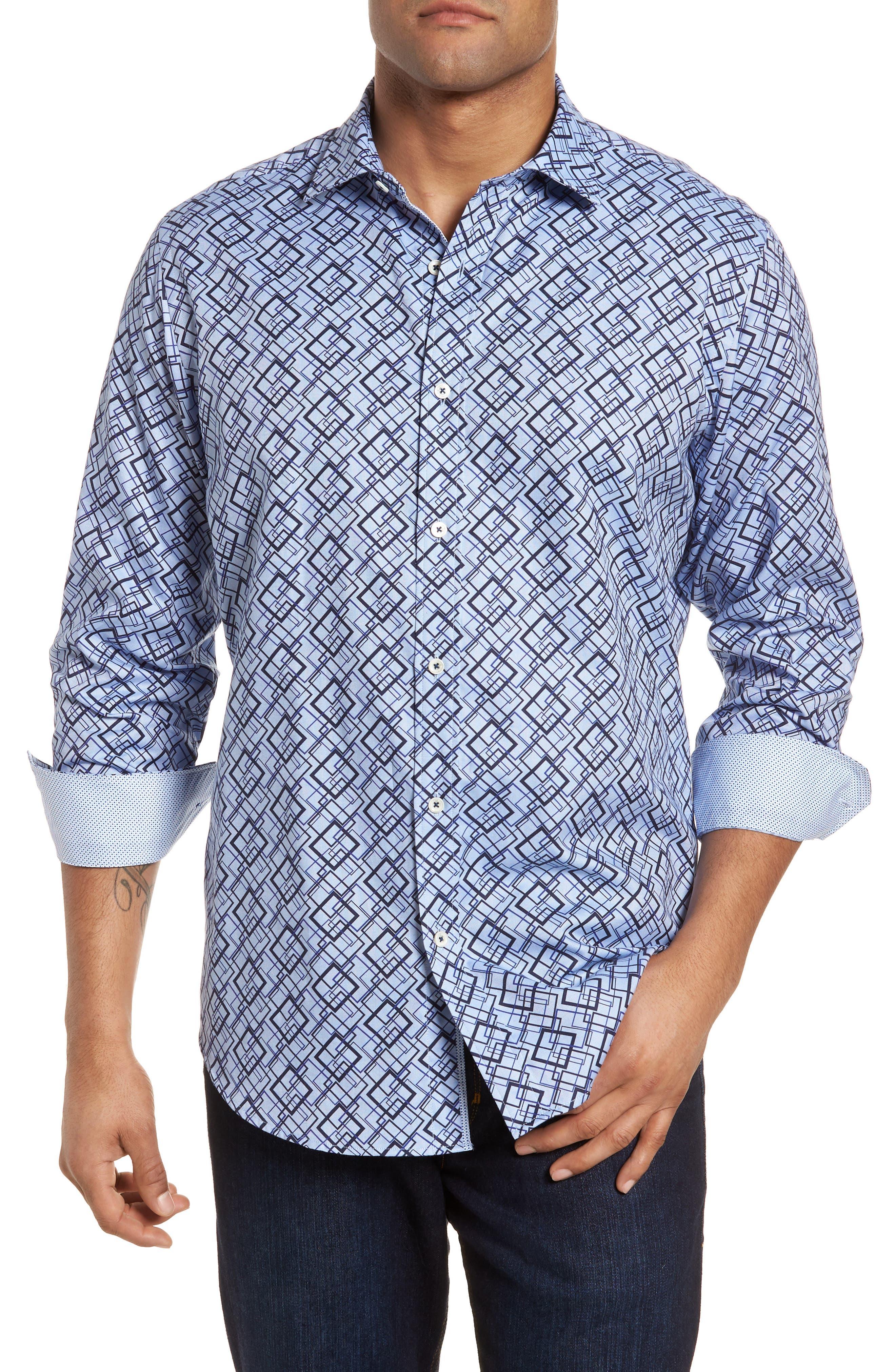 Classic Fit Woven Sport Shirt,                         Main,                         color, Classic Blue