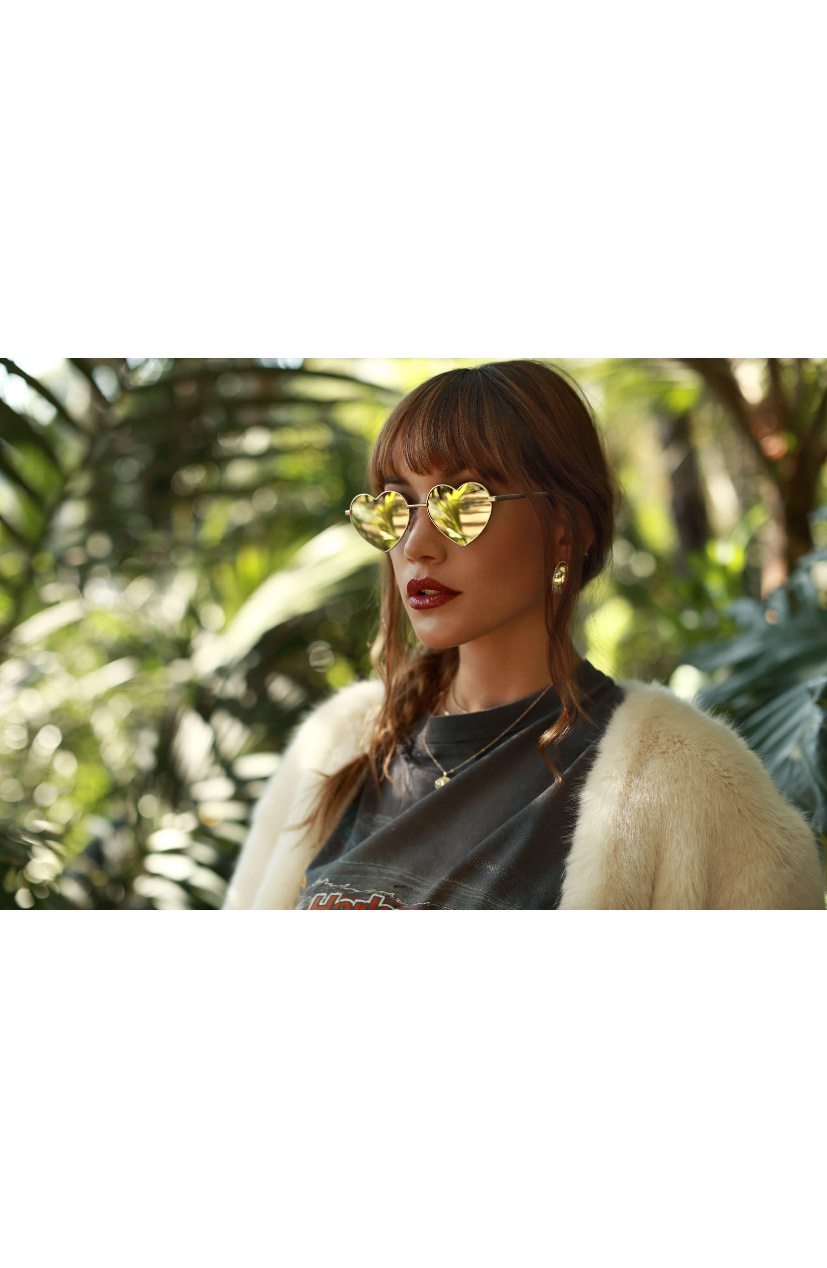 53mm Heart Breaker Heart-Shaped Sunglasses,                             Alternate thumbnail 2, color,                             Gold/ Gold