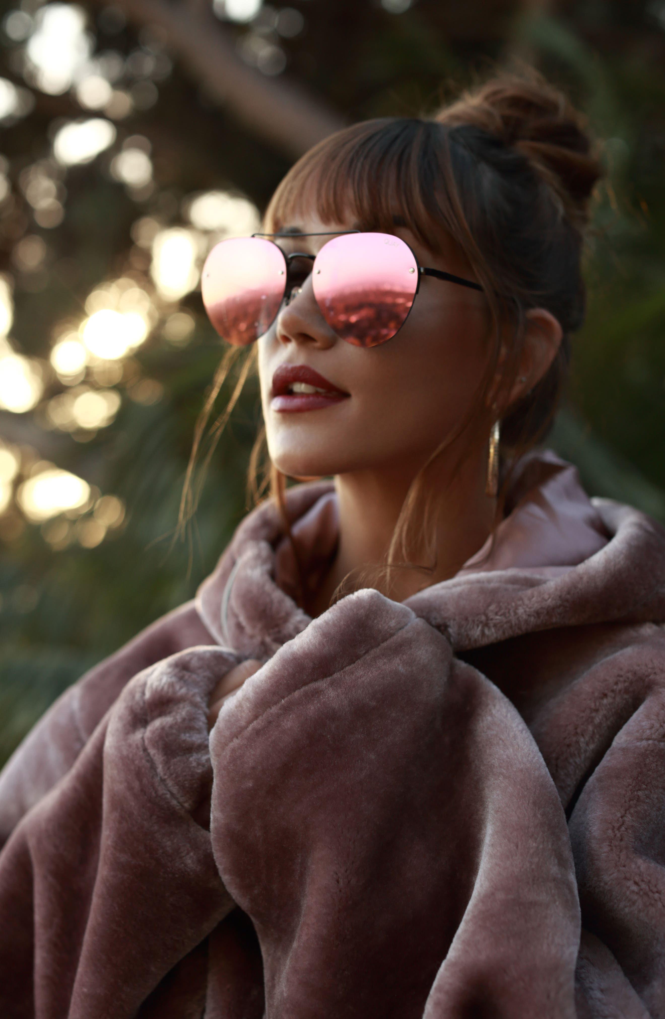 Somerset 65mm Aviator Sunglasses,                             Alternate thumbnail 2, color,                             Black/ Pink