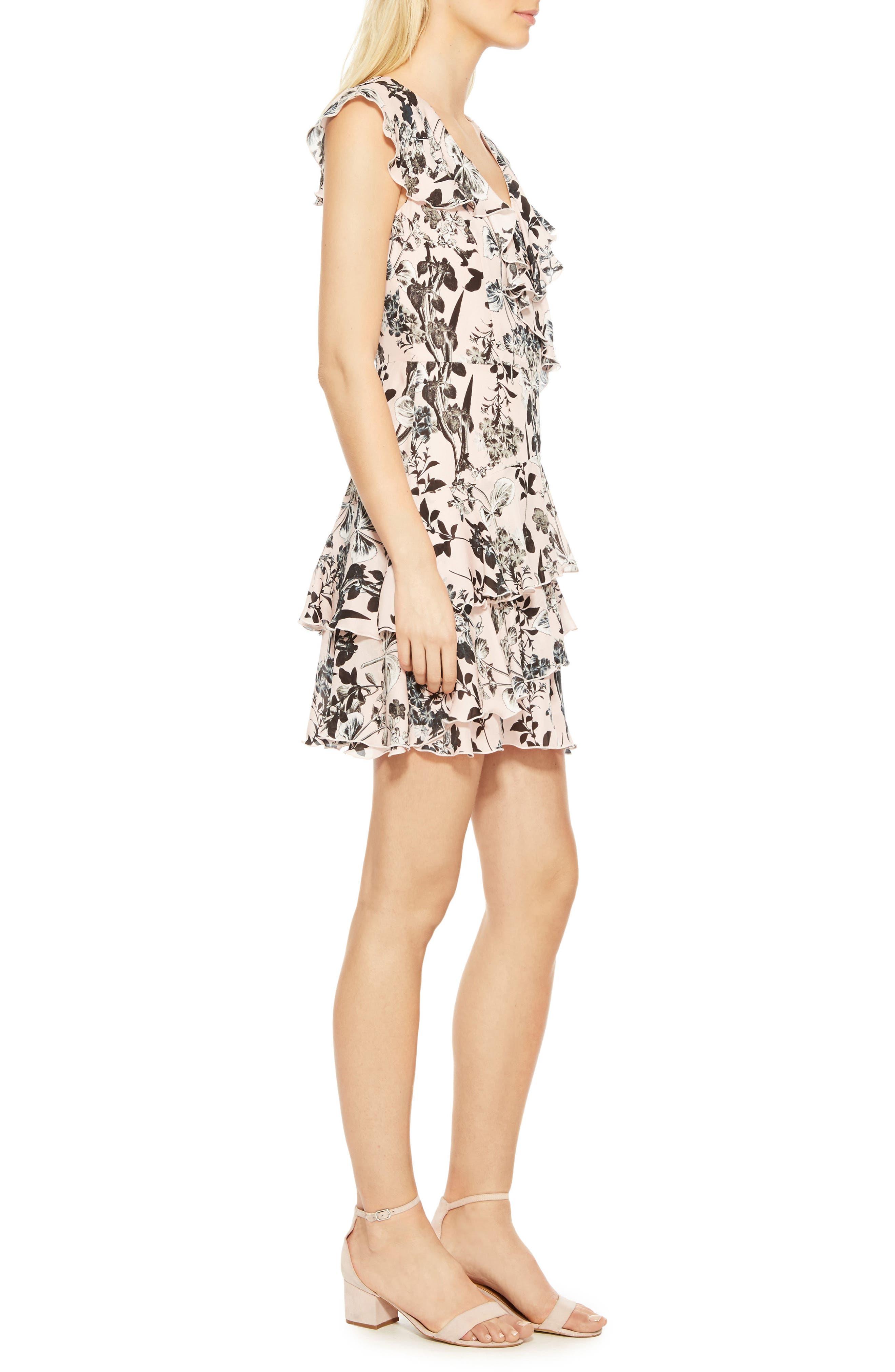Dorthy Floral Silk Dress,                             Alternate thumbnail 3, color,                             Pearl Paradise