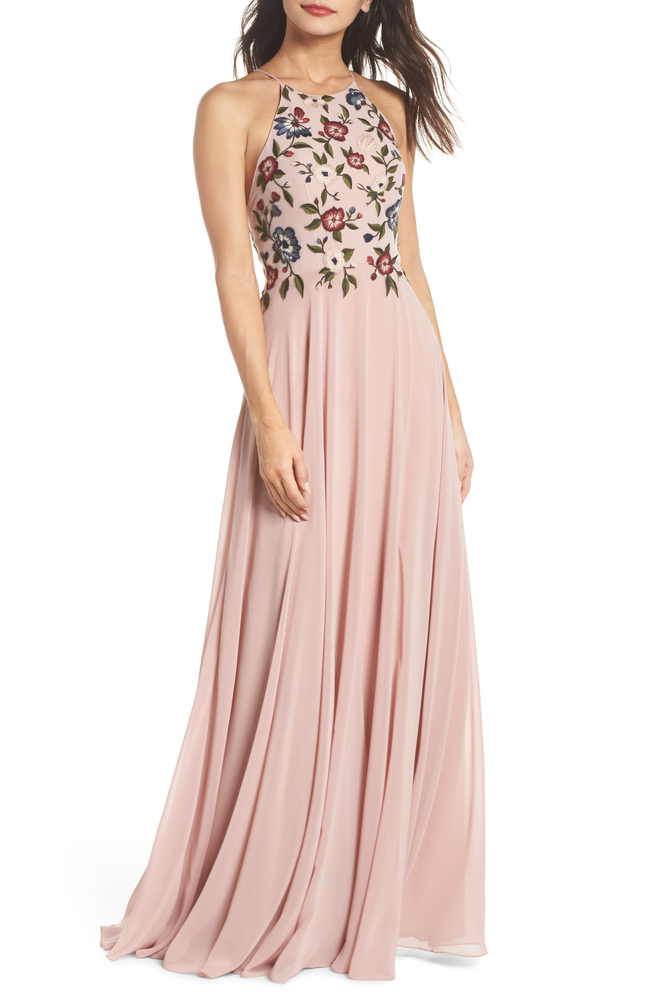 Sophie Embroidered Luxe Chiffon Gown,                         Main,                         color, Whipped Apricot