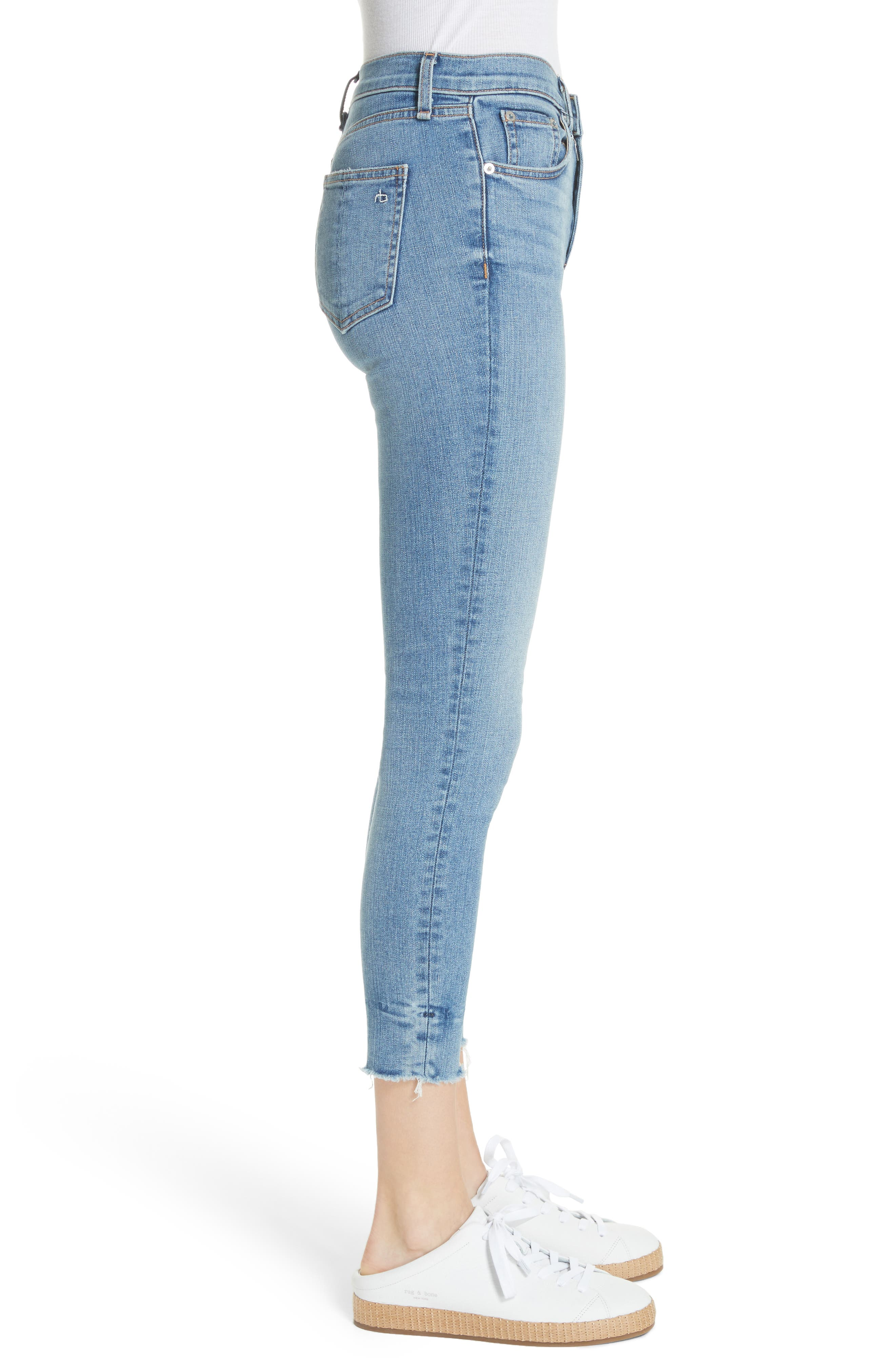 High Waist Ankle Skinny Jeans,                             Alternate thumbnail 4, color,                             Levee