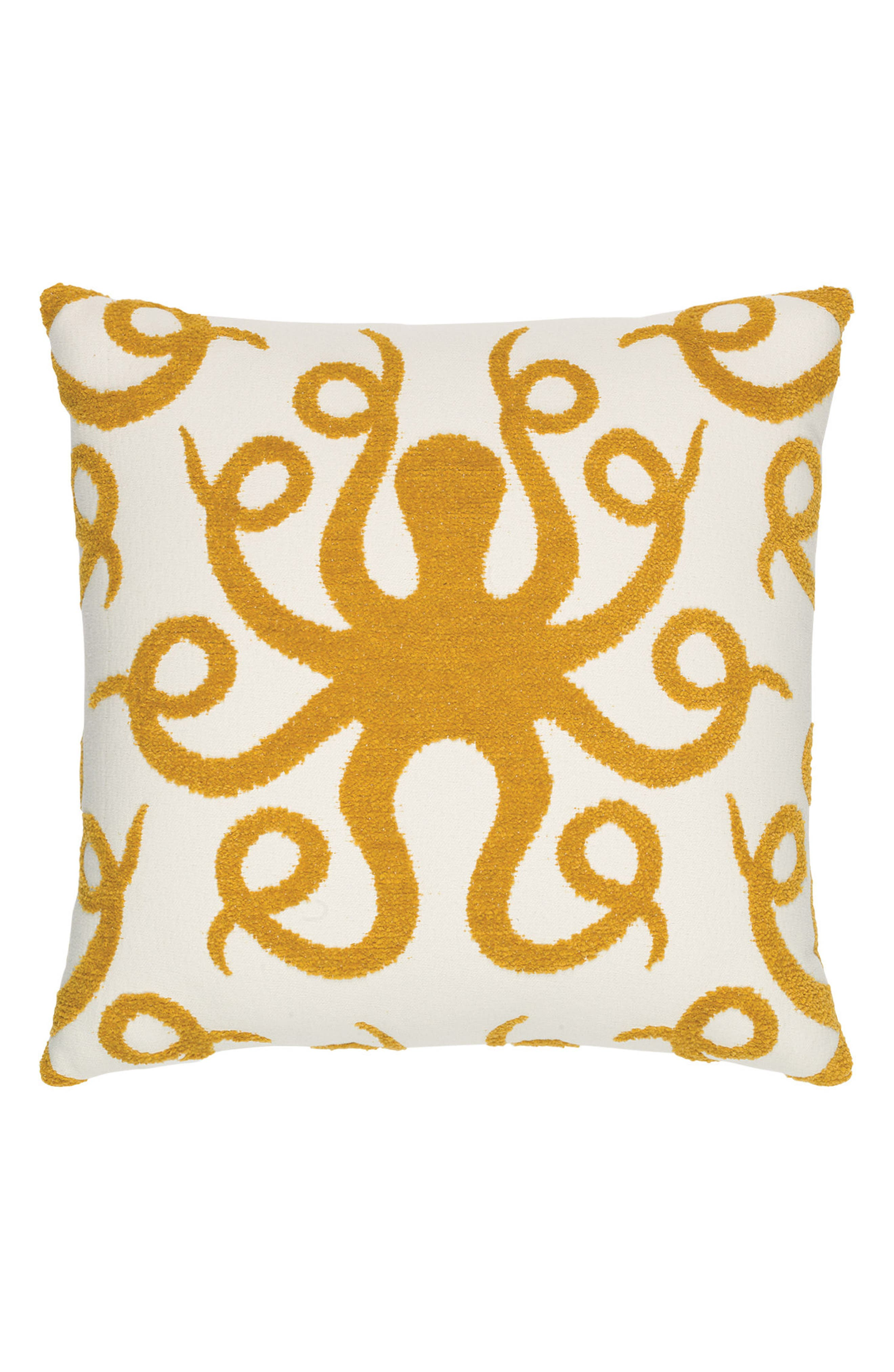 Octoplush Indoor/Outdoor Accent Pillow,                         Main,                         color, Gold/ White
