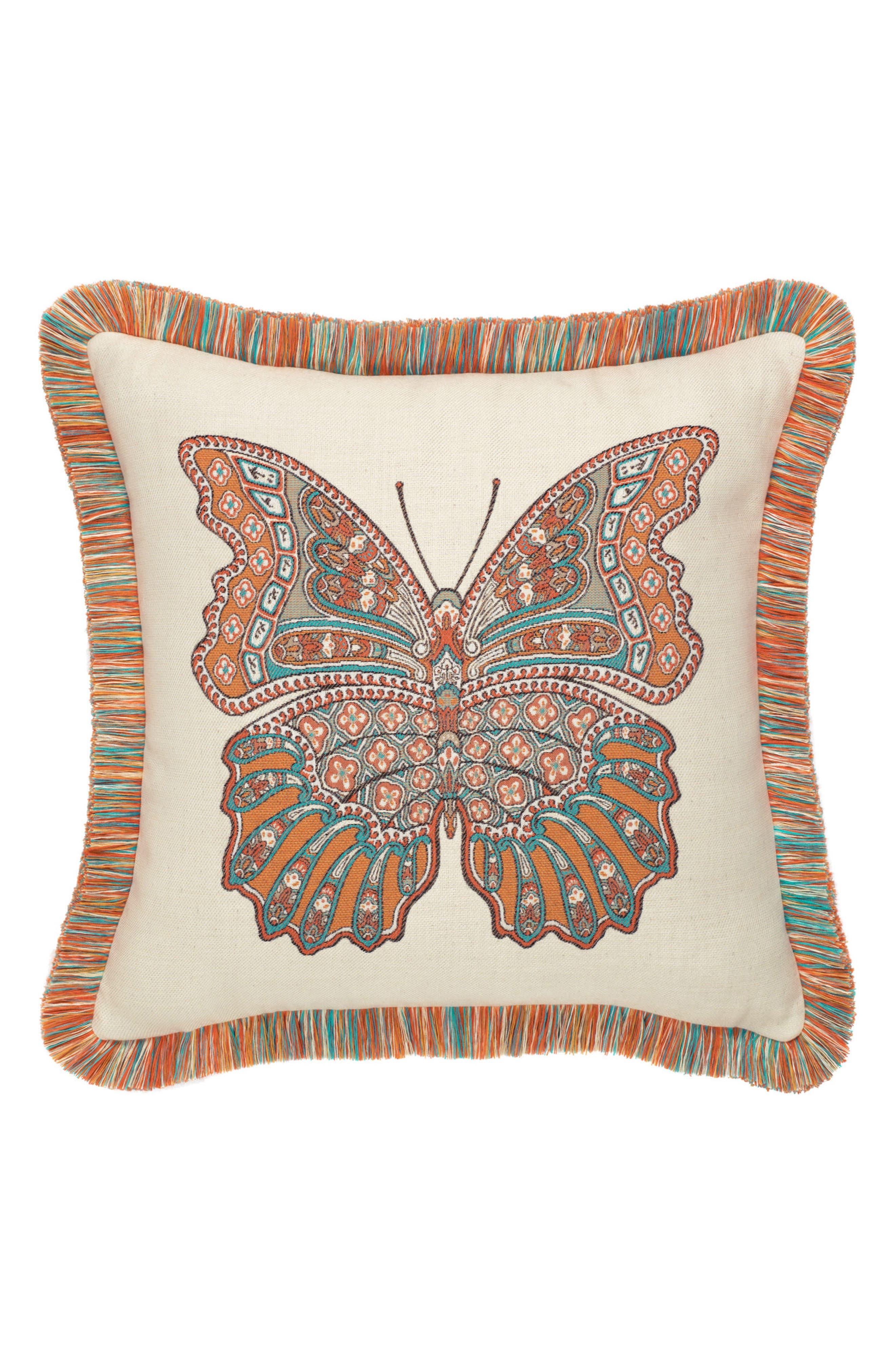 Mariposa Lagoon Indoor/Outdoor Accent Pillow,                             Main thumbnail 1, color,                             Orange/ Ivory